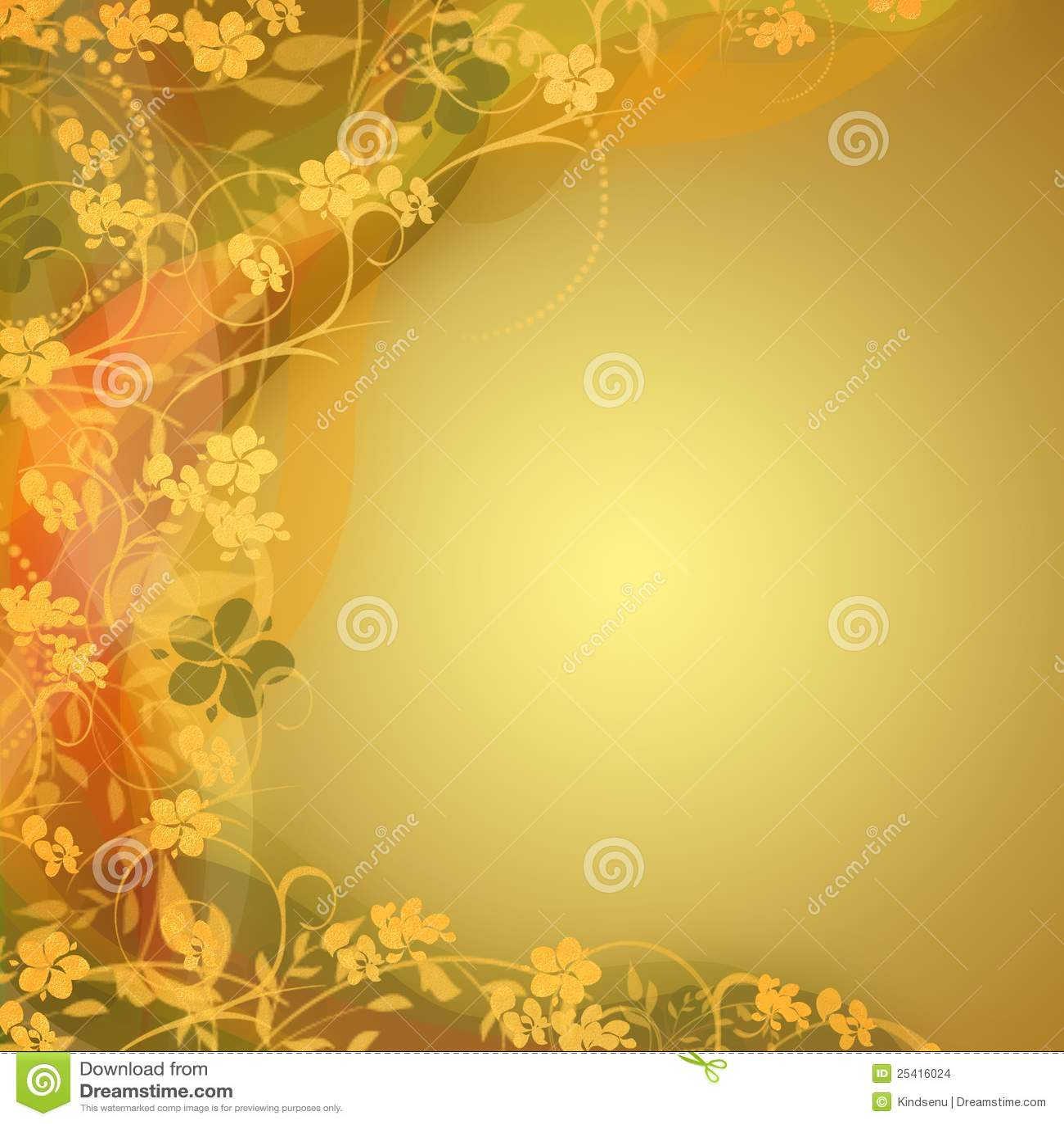 Golden Bright Floral Backgrounds Stock Illustration
