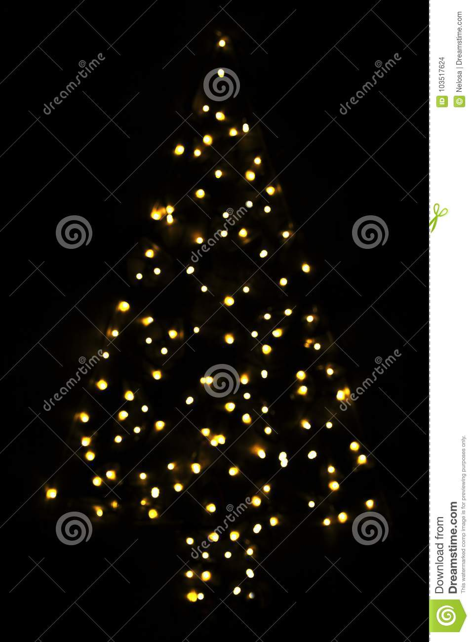 Golden Bright Glowing Magic Christmas Tree Stock Photo Image Of
