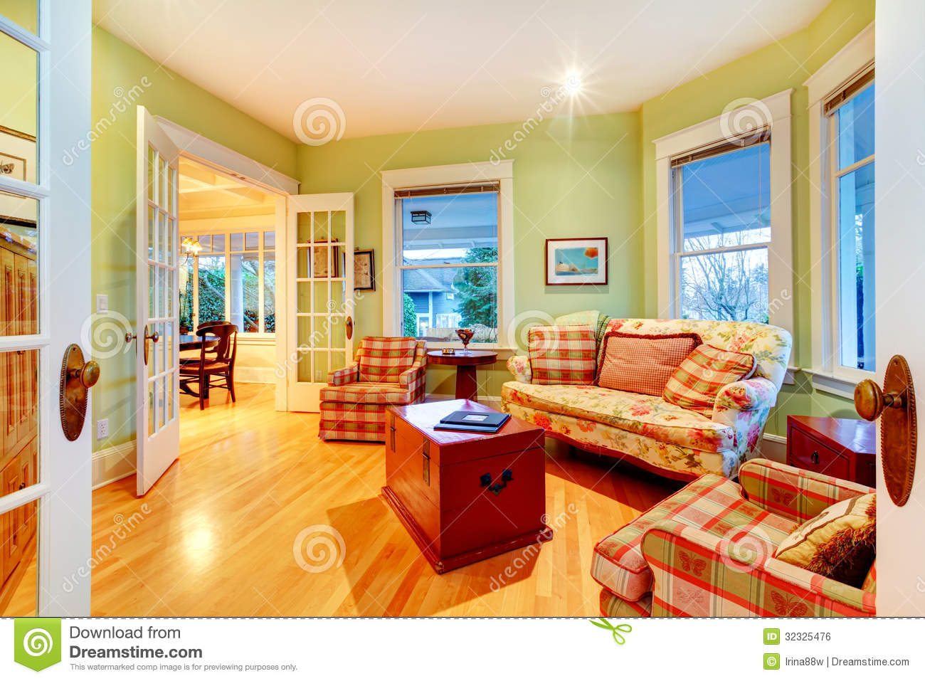 Golden Bright Green Luxury Living Room With Red Sofas. Stock Photo ...
