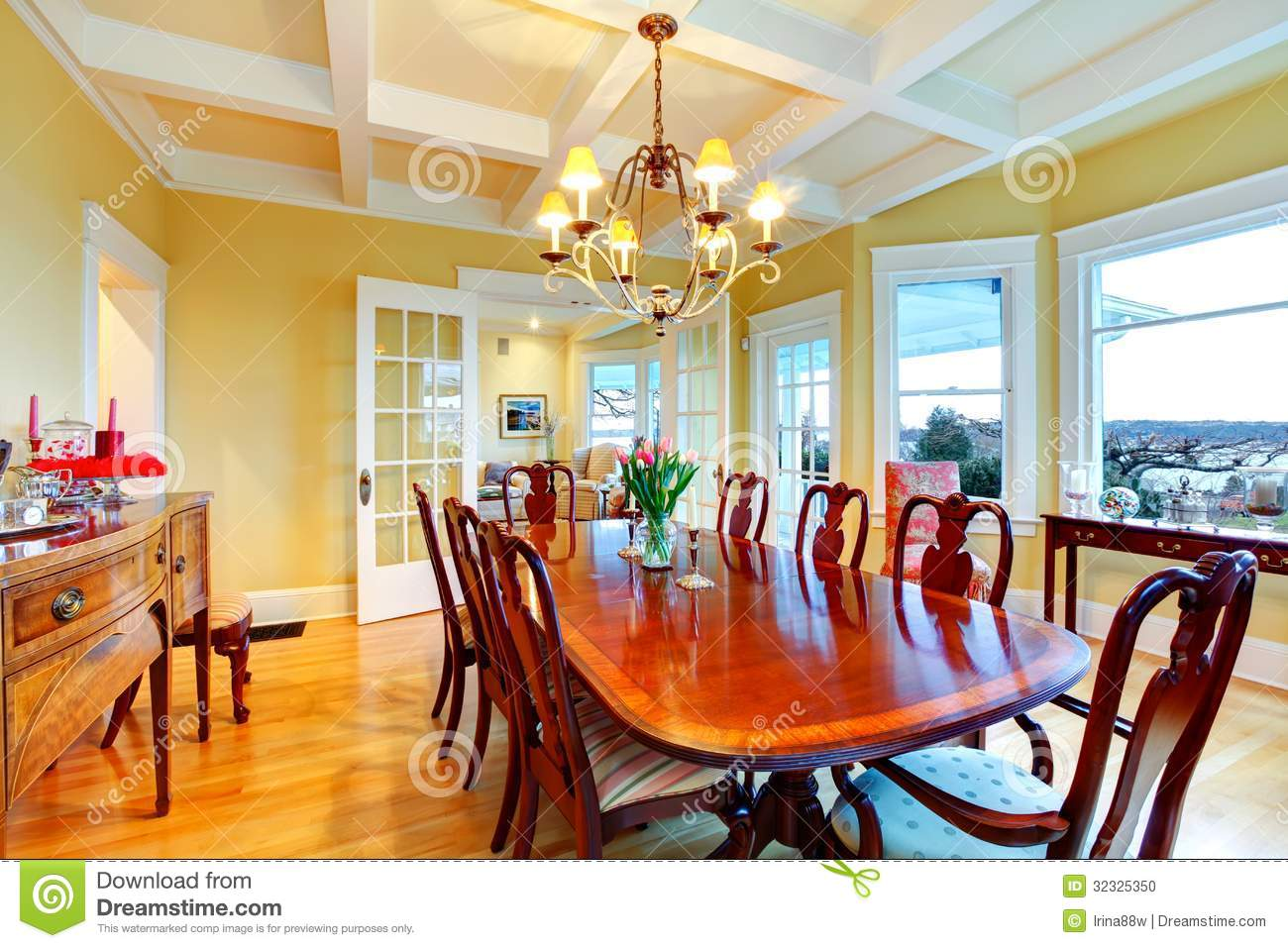 Golden Bright Yellow Luxury Dining Room With Elegant Classic