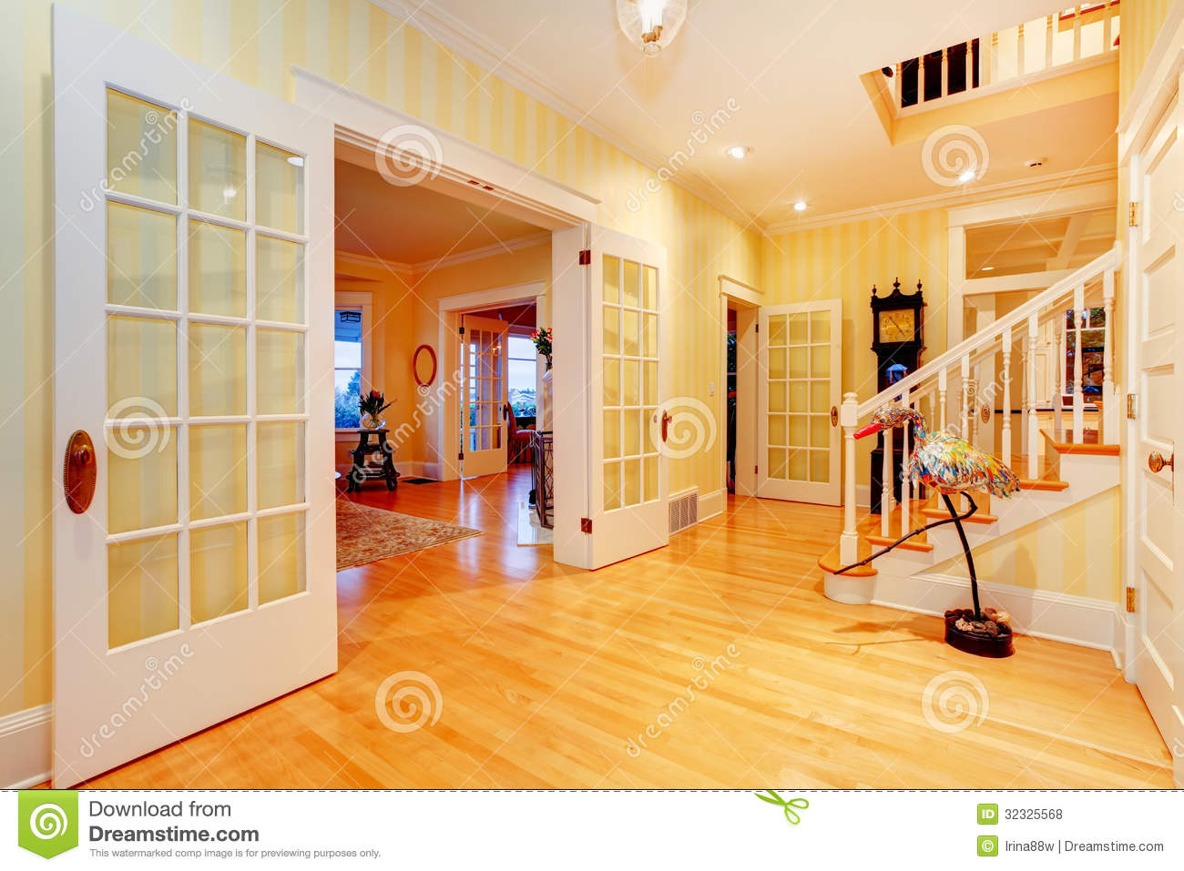 Golden Bright Yellow Luxury Home Main Hallway Entrance With Staircase Stock Photo Image Of