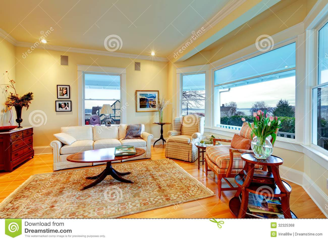 Golden Bright Yellow Luxury Living Room With Fireplace And Rug Stock Photo Image 32325368