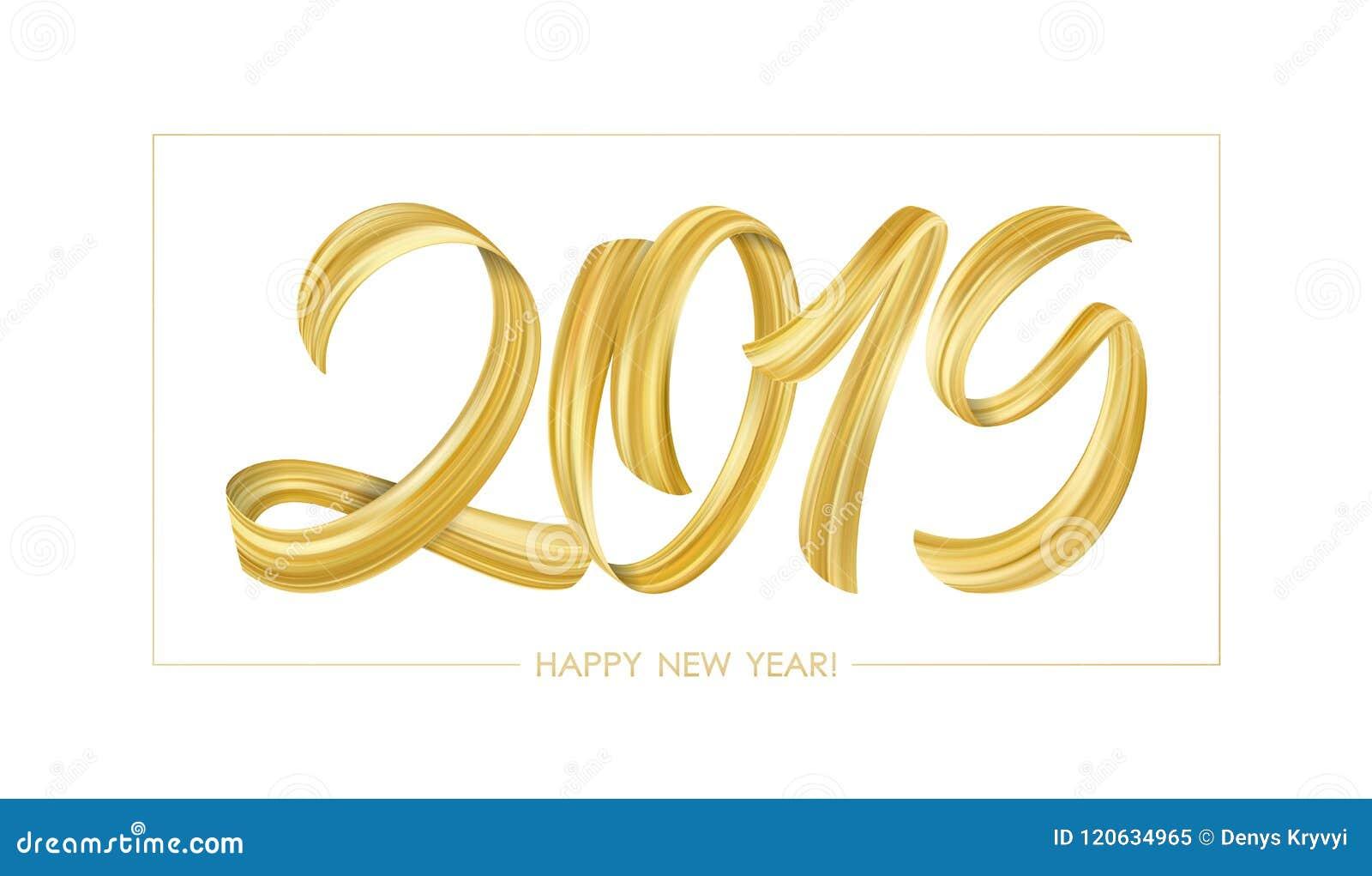 Golden Brushstroke Paint Lettering Calligraphy Of 2019