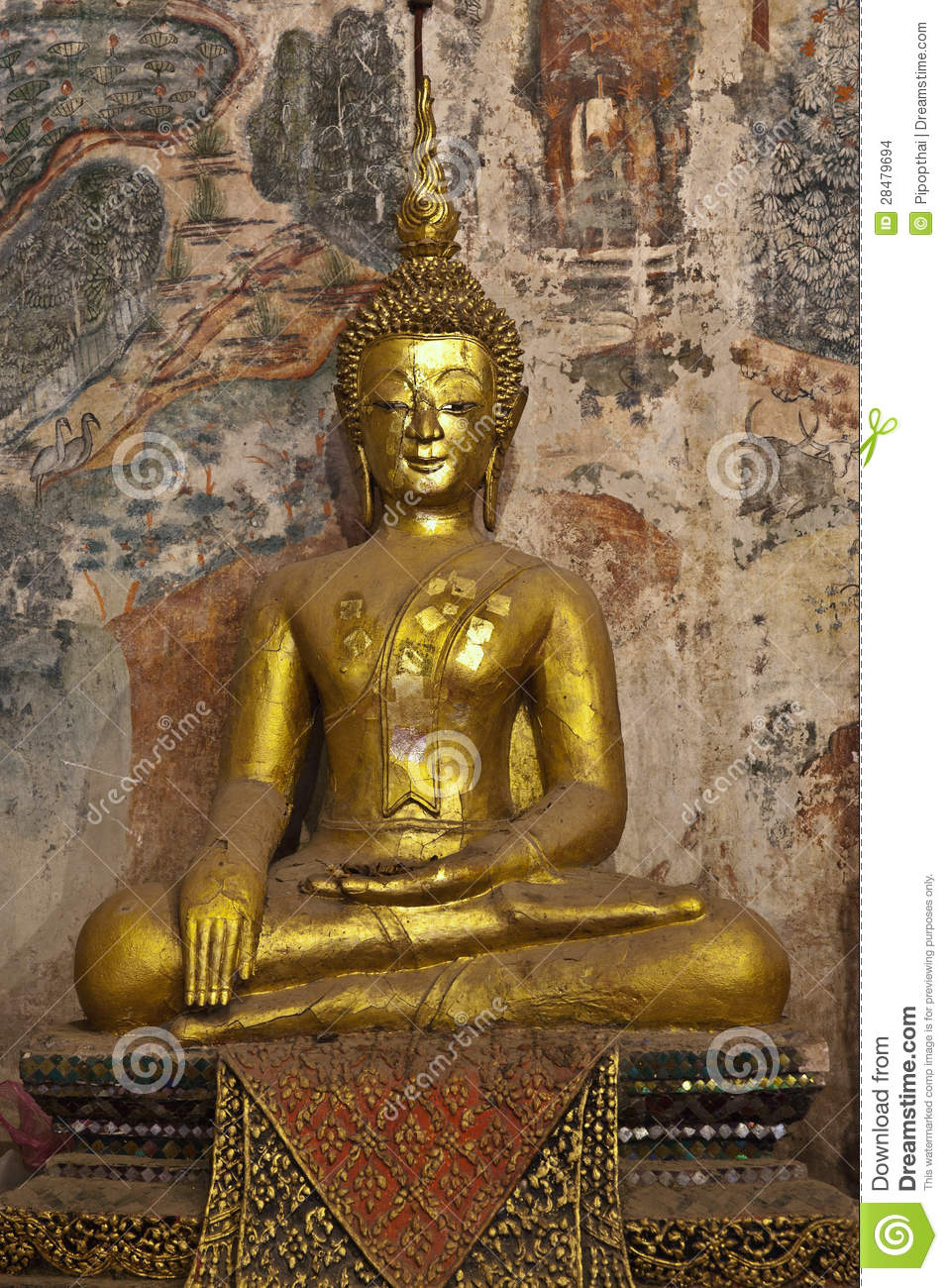 Golden buddha and mural painting laos stock images for Buddha mural art