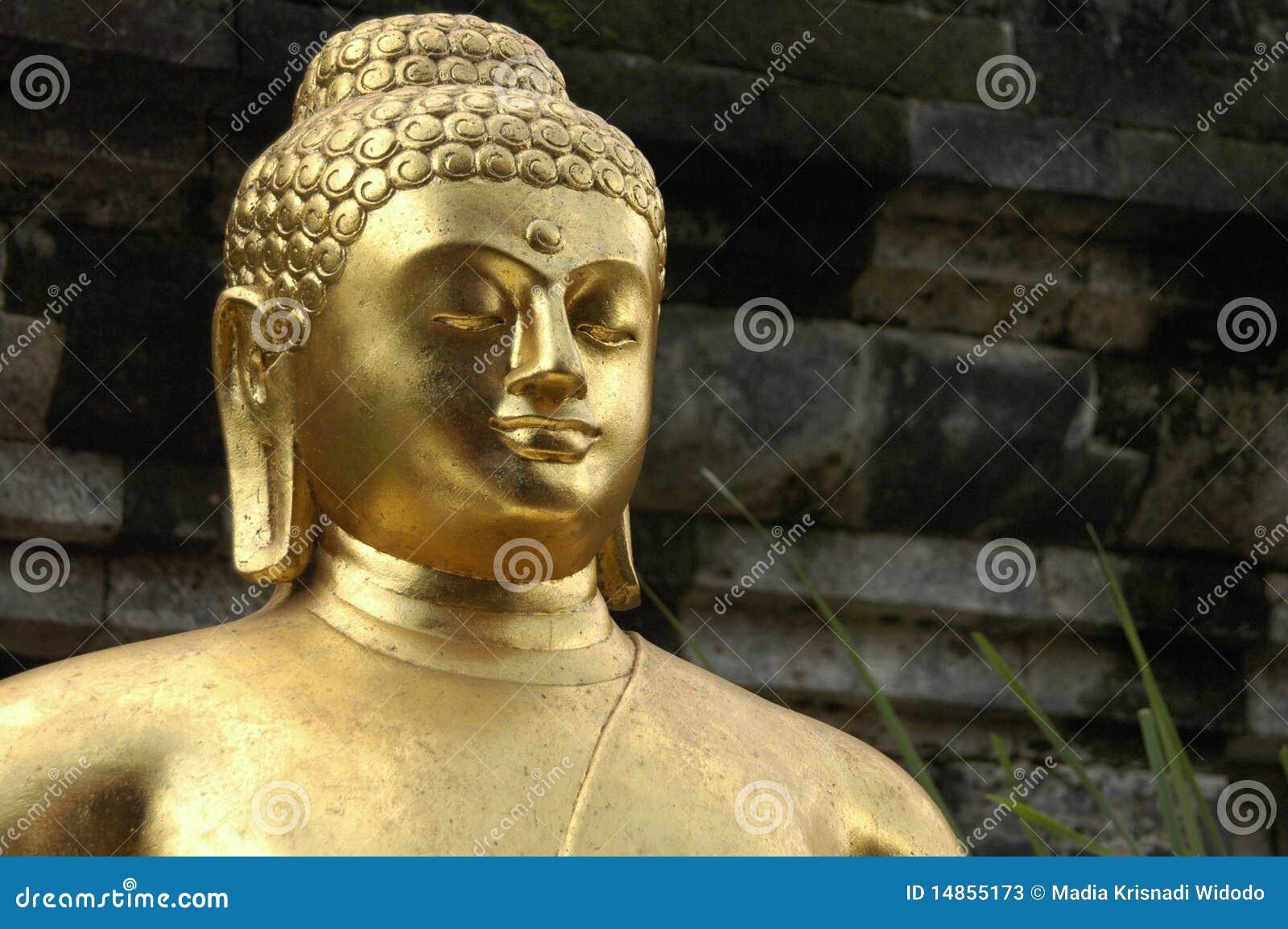 Closeup of Golden Buddha statue