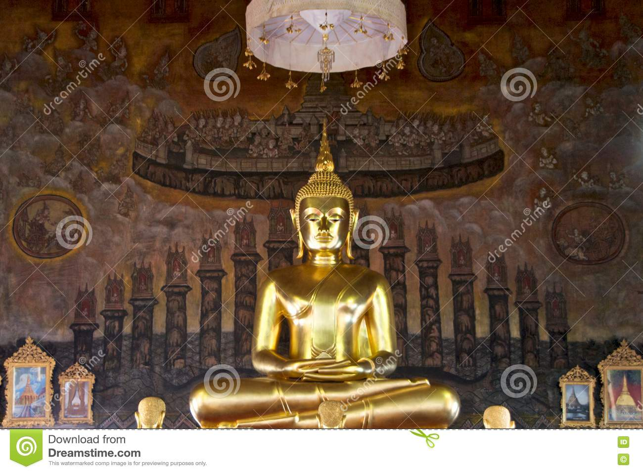 Golden buddha statue on mural background royalty free for Buddha mural art