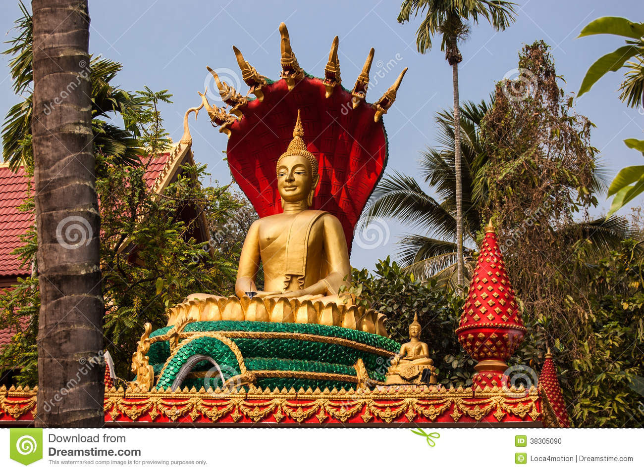 Golden Buddha Statue Seated On Lotus Flower Stock Photo Image Of