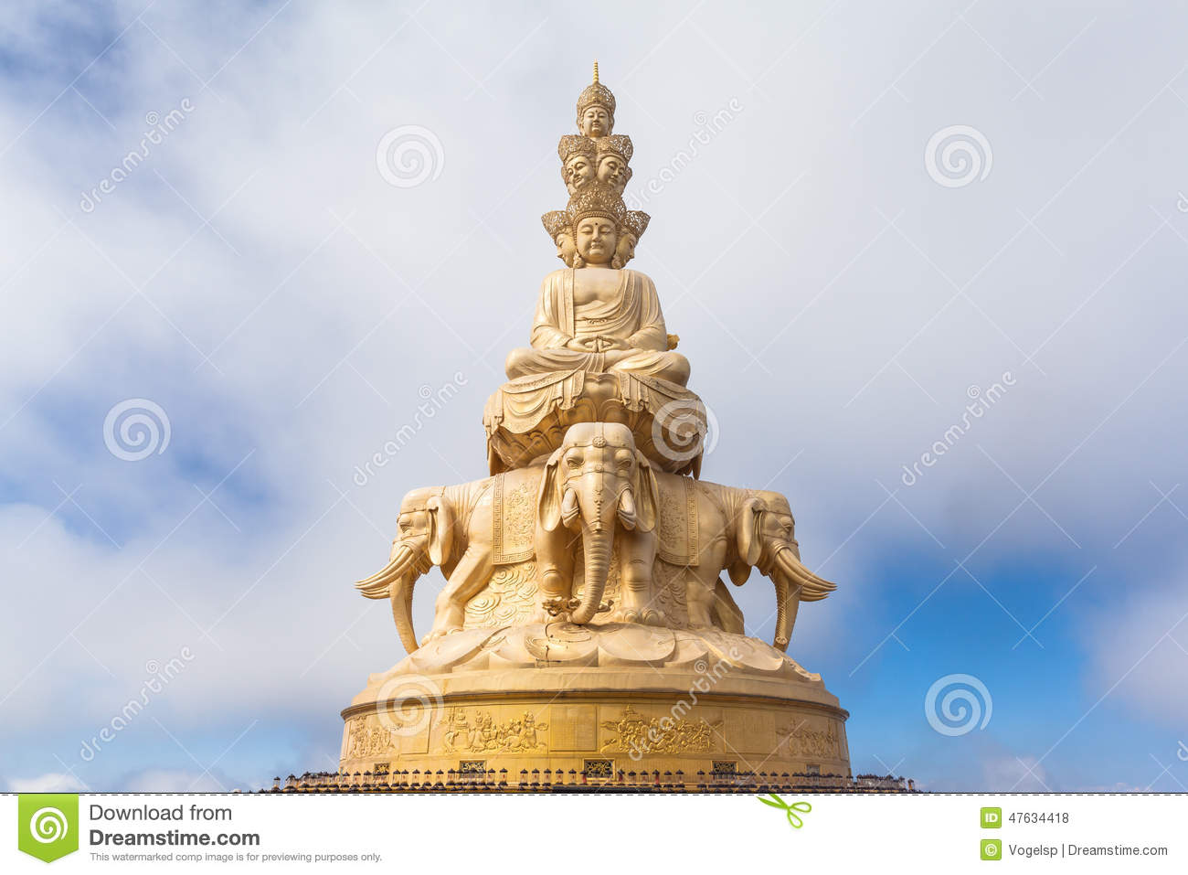 The Golden Buddha Statue On Top Of Emei Mountain In China