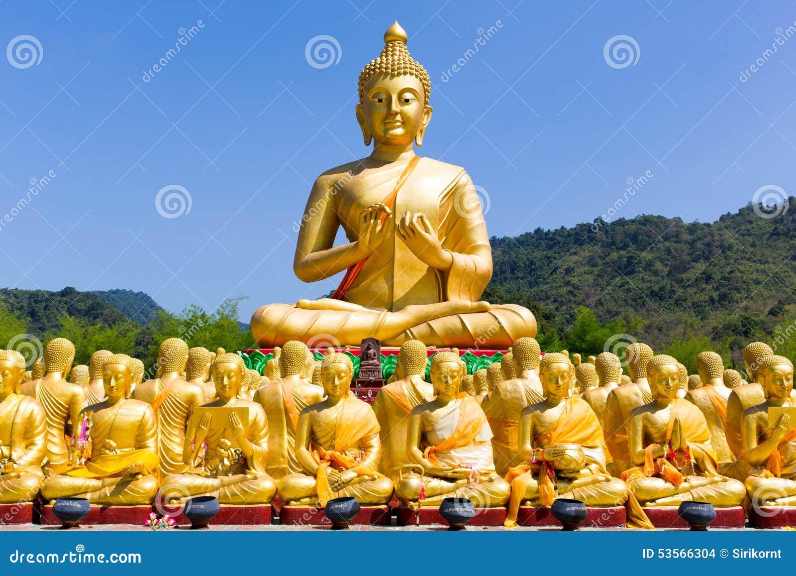 Nakhon Nayok Thailand  City new picture : Golden Buddha with blue sky , Nakhon nayok Thailand.