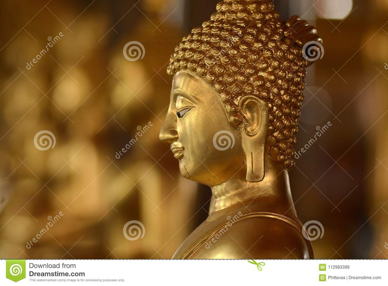Golden of buddish state in the art style ,Wat Krathum Suea Pla t