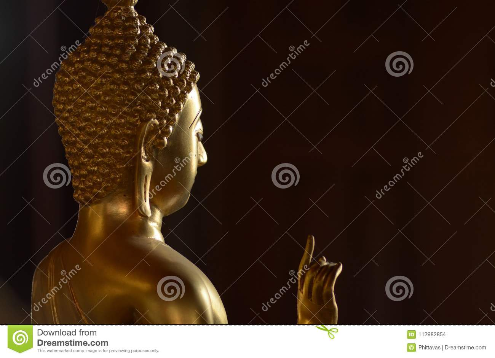 Golden of buddish state in the art style ,Wat Krathum Suea Pla t