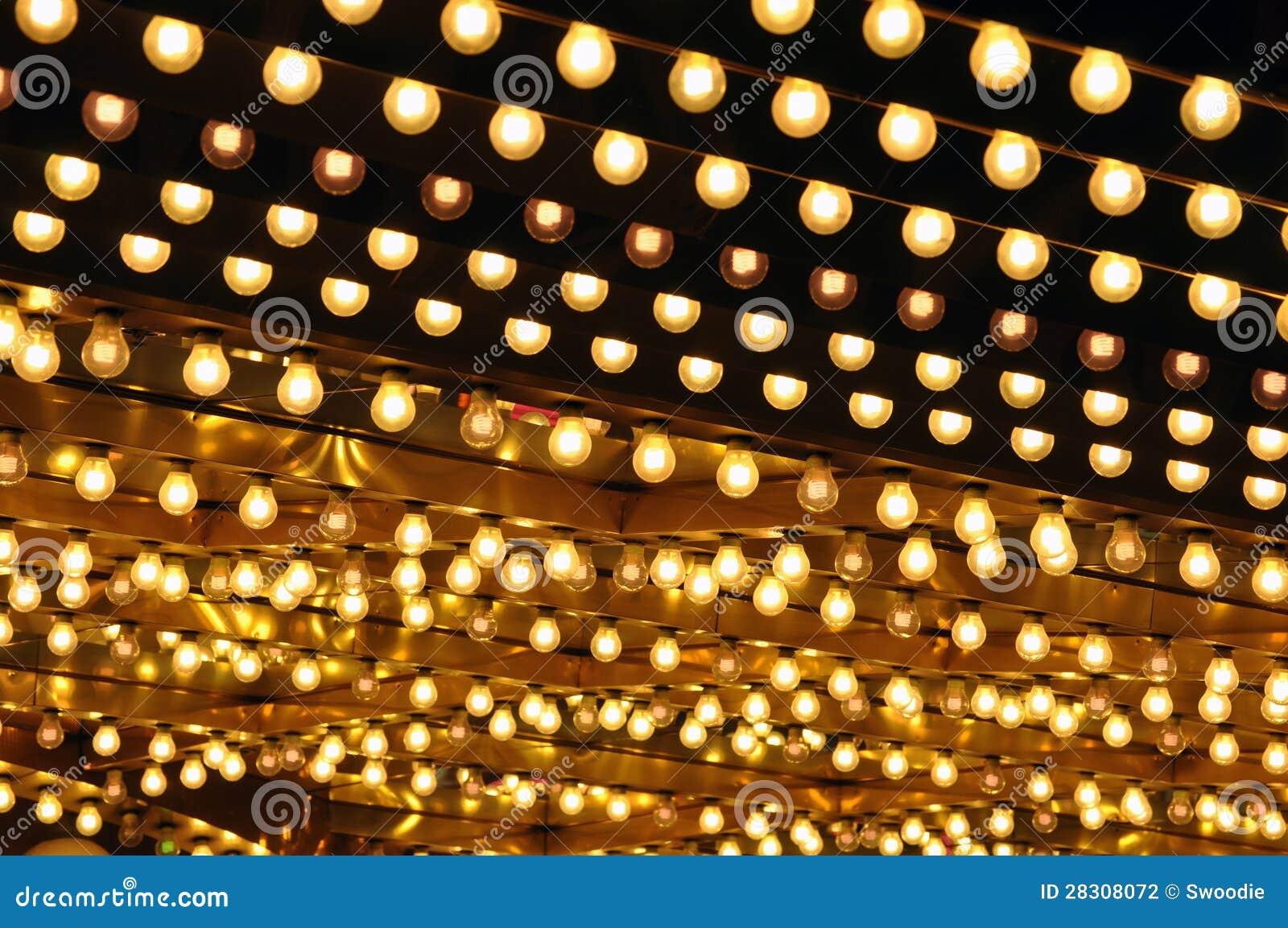 Broadway Lights Marquee Golden bulbs marquee Stock