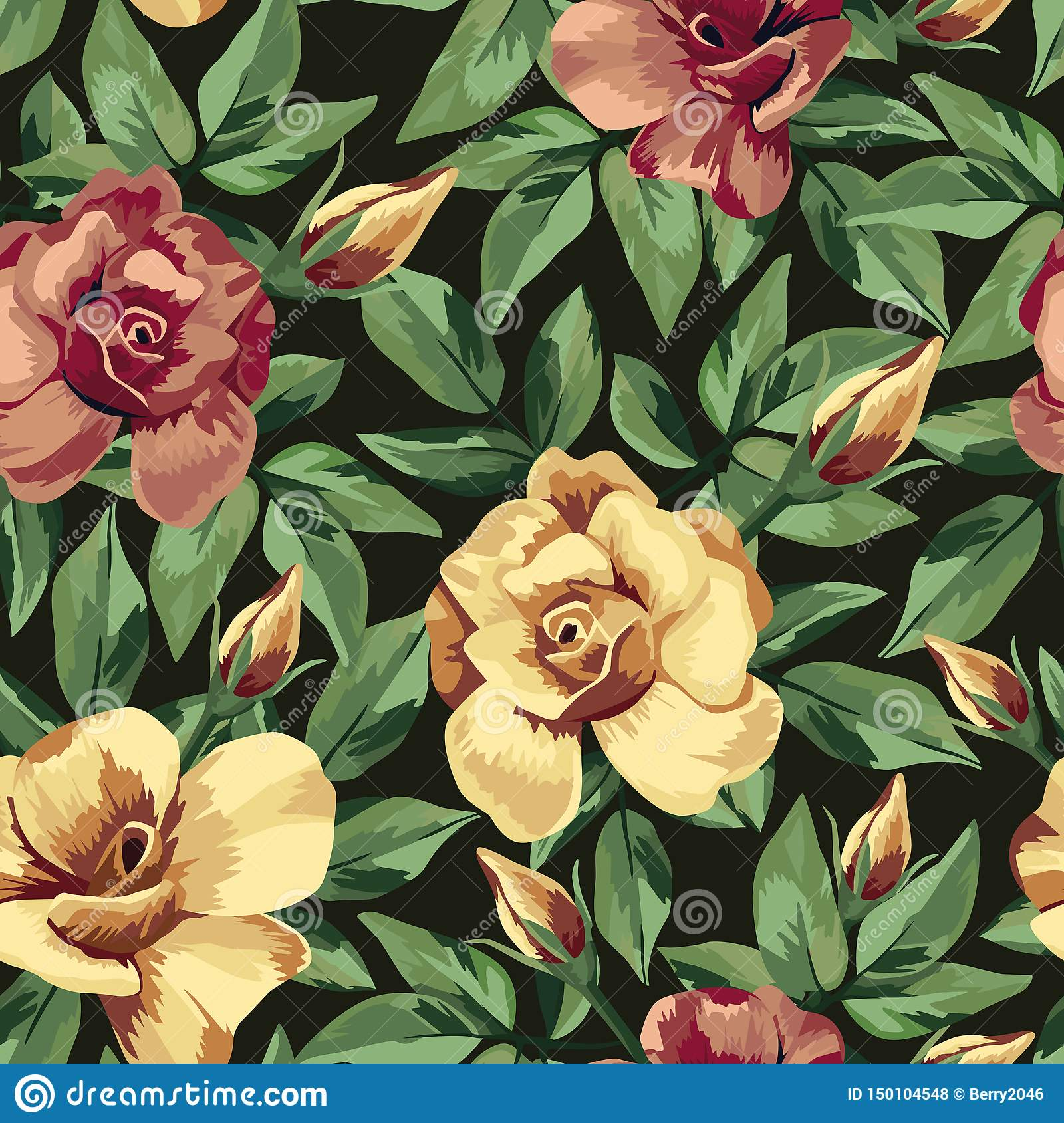 Golden Burgundy Rose Pattern Seamless Black Background Stock