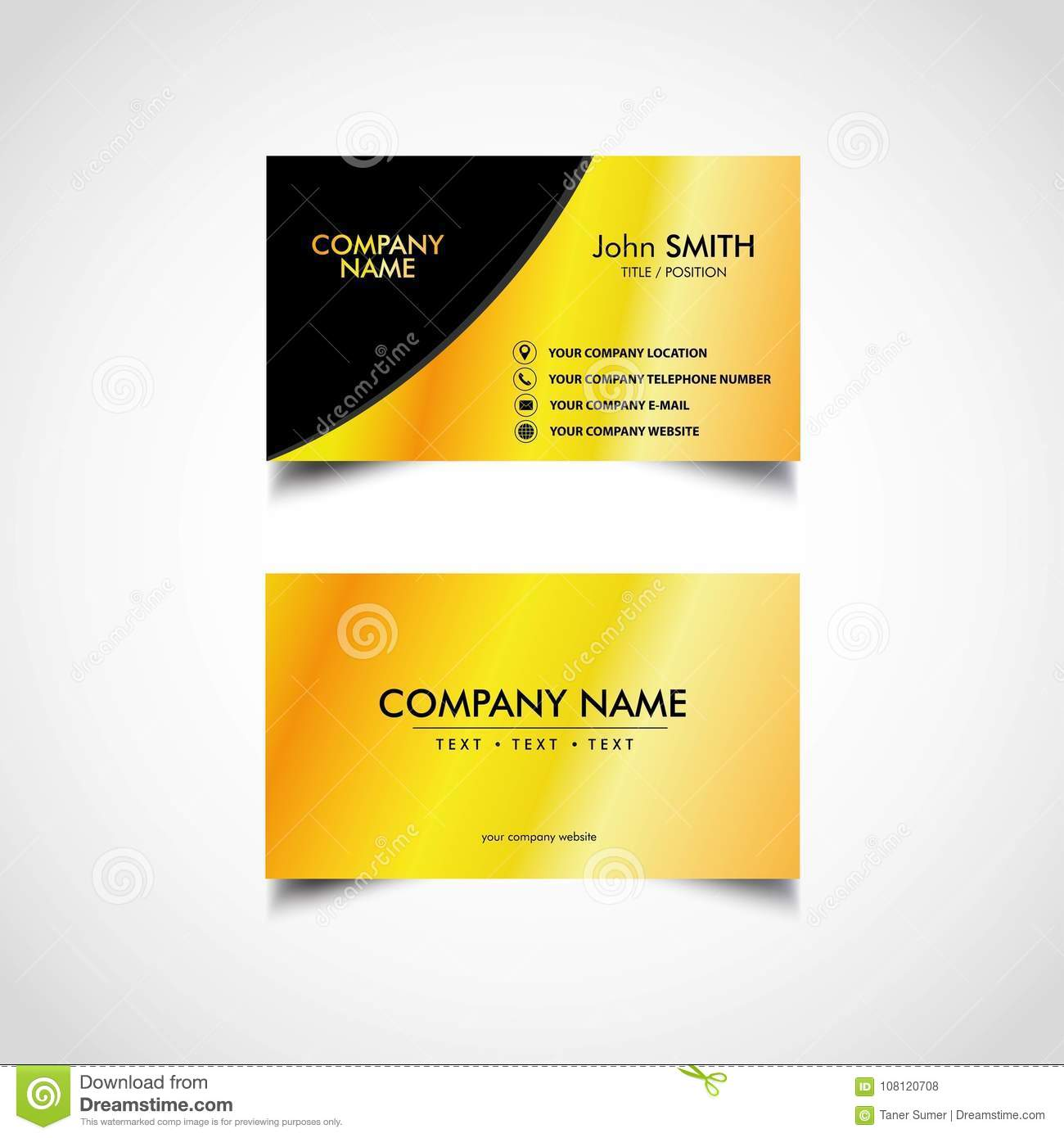 Golden Business Card Template Vector Eps File Stock Vector