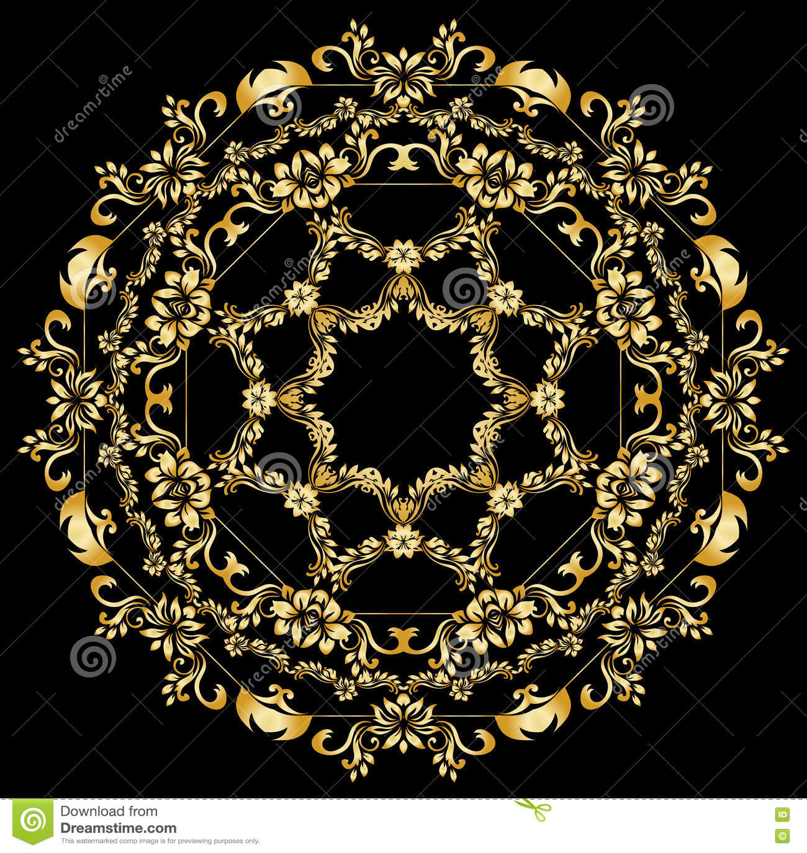 Golden calligraphic vector design elements on the black background. Gold menu and invitation border, round frame,divider
