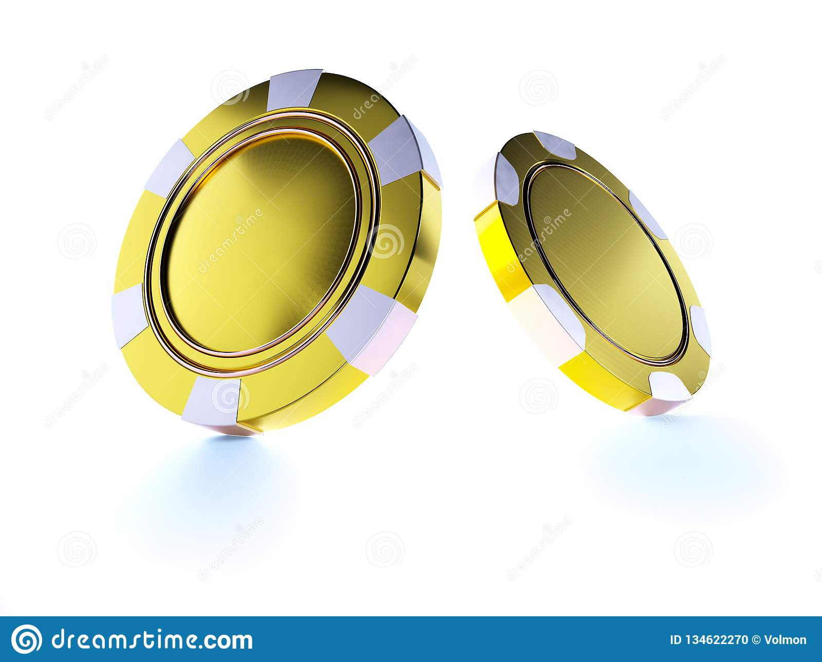 Golden Casino Chips Isolated On White  Casino Game 3D Chips  Online
