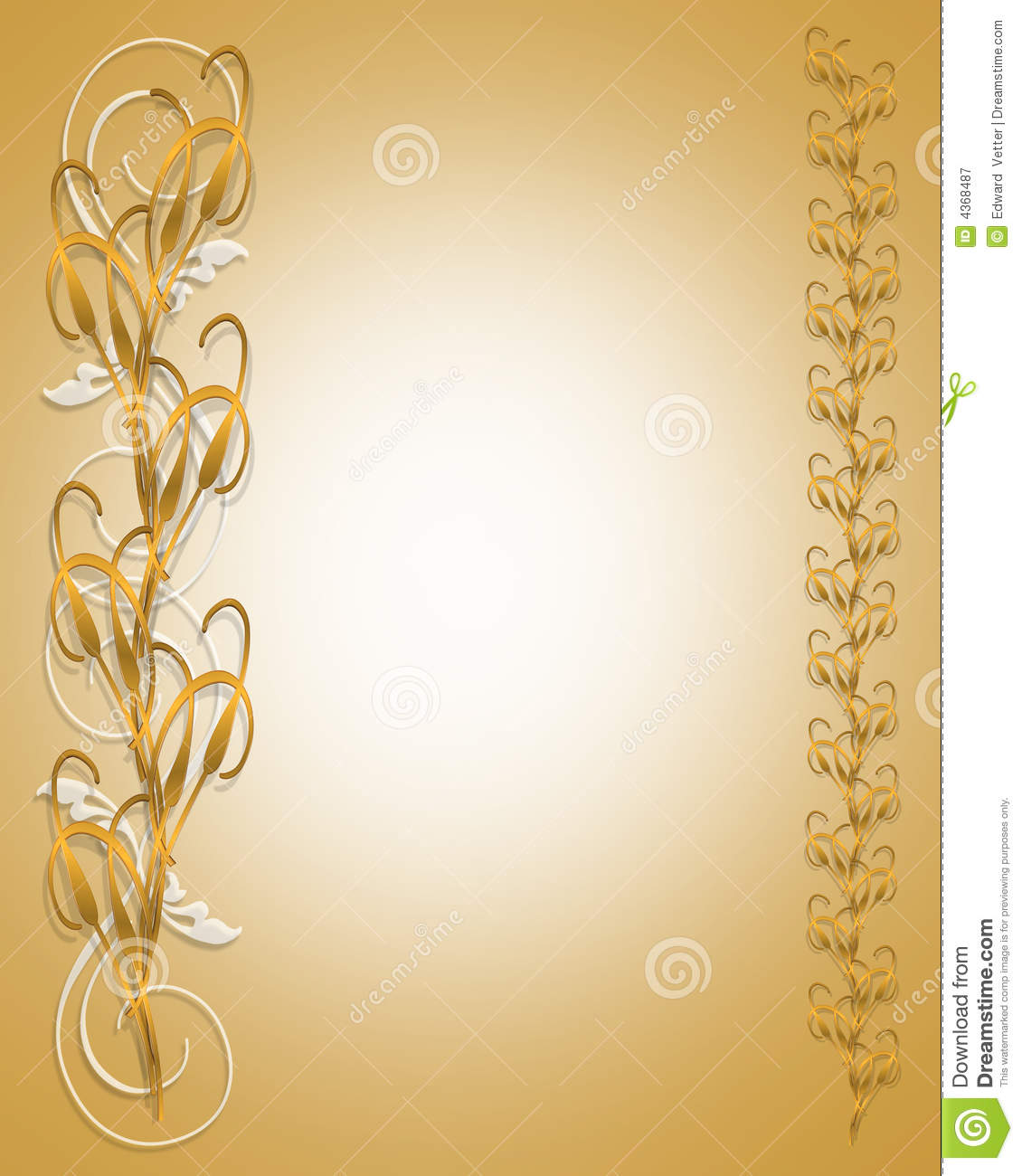 Golden Cat Tails Floral Border Stock Illustration