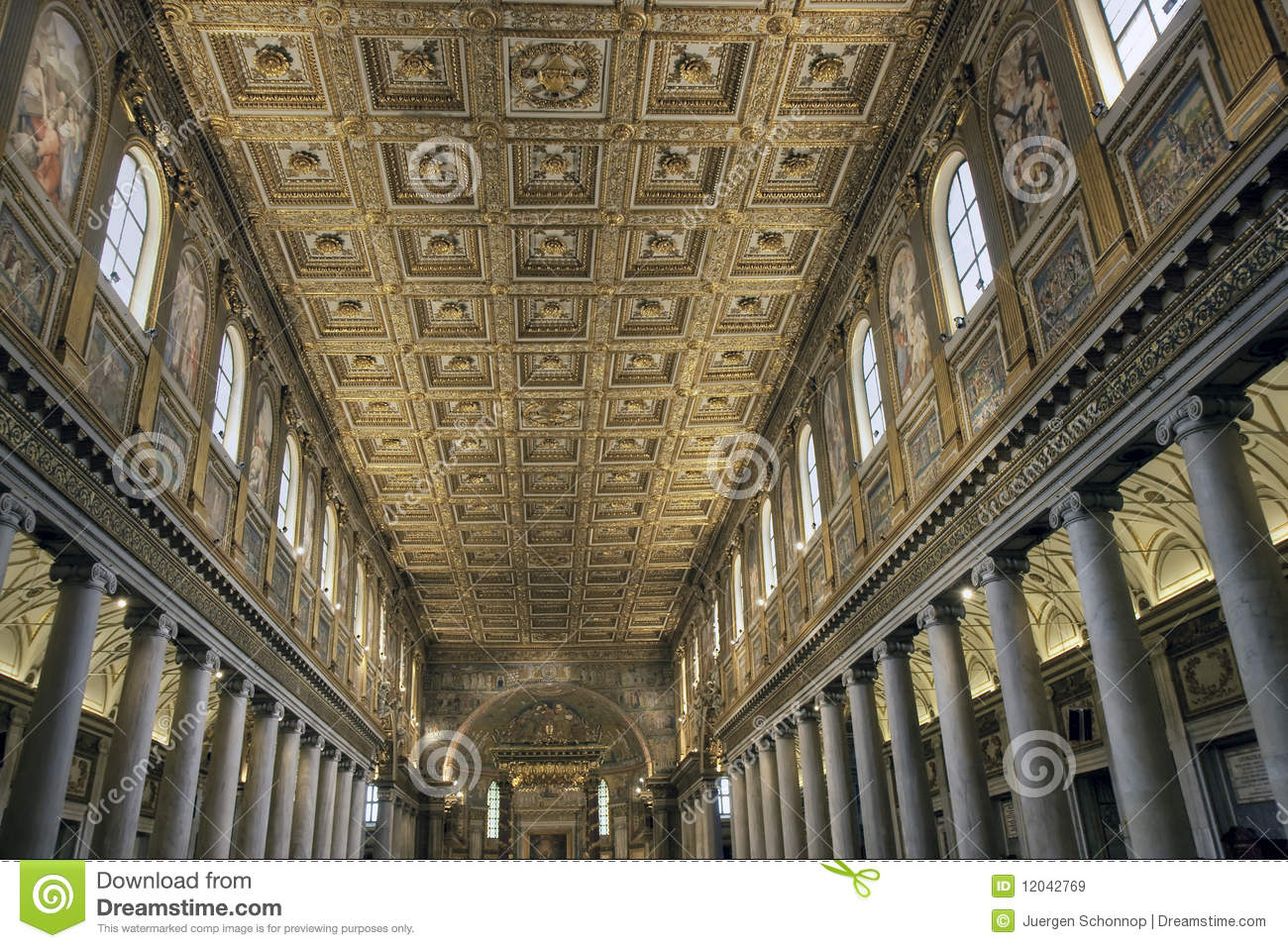 Golden Ceiling Of Santa Maria Maggiore, Rome Royalty Free Stock Images ...