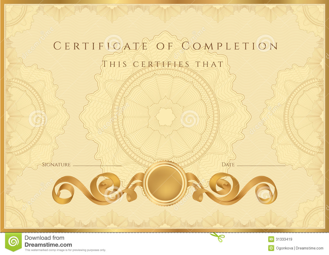 Golden Certificate / Diploma Background (template)  Certificate Of Completion Template Free