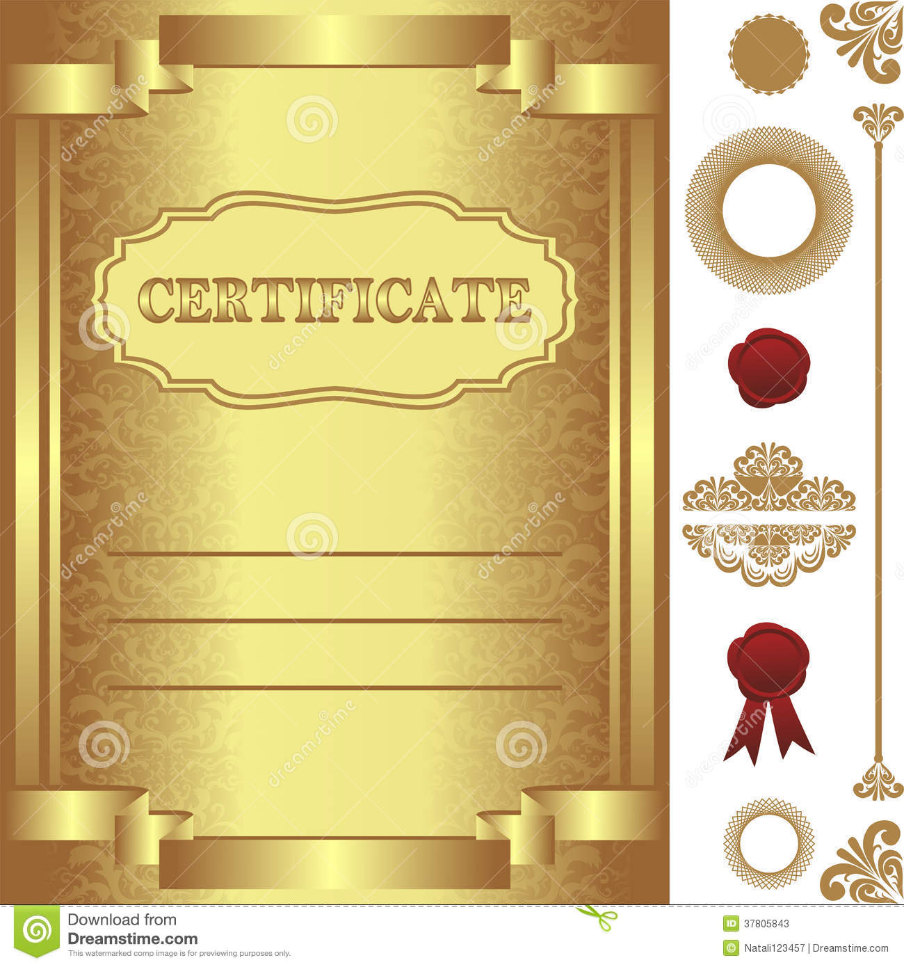 Golden Certificate Template With Additional Elements ...
