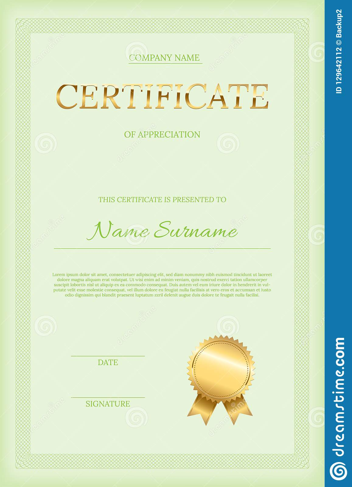 Golden Certificate Word With Seal Green Text And Guilloche
