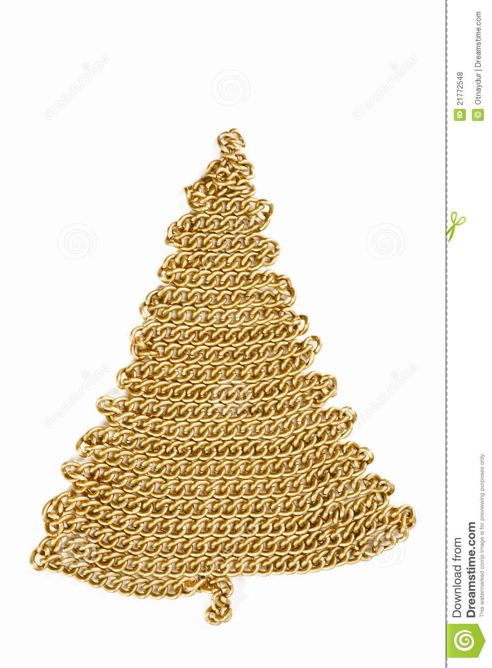 Golden Chain Christmas Tree On White Royalty Free Stock ...