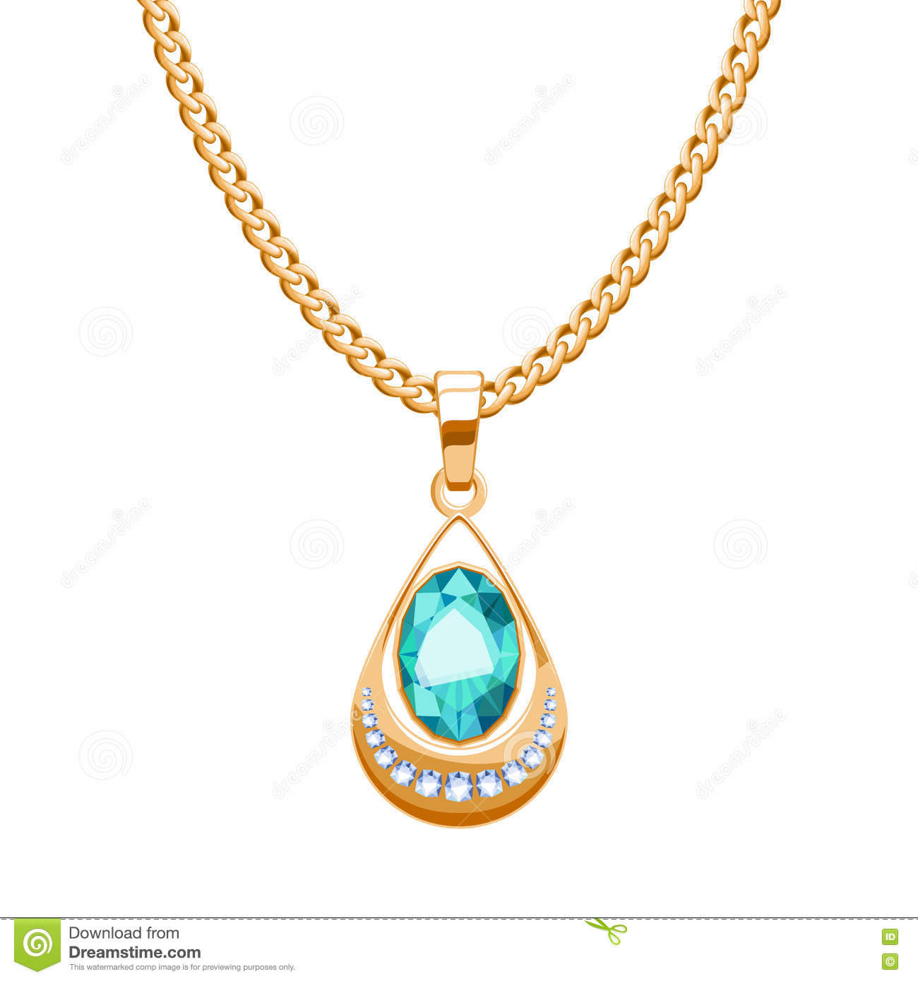 Golden chain necklace with diamonds and emerald gemstones pendant drop shape.