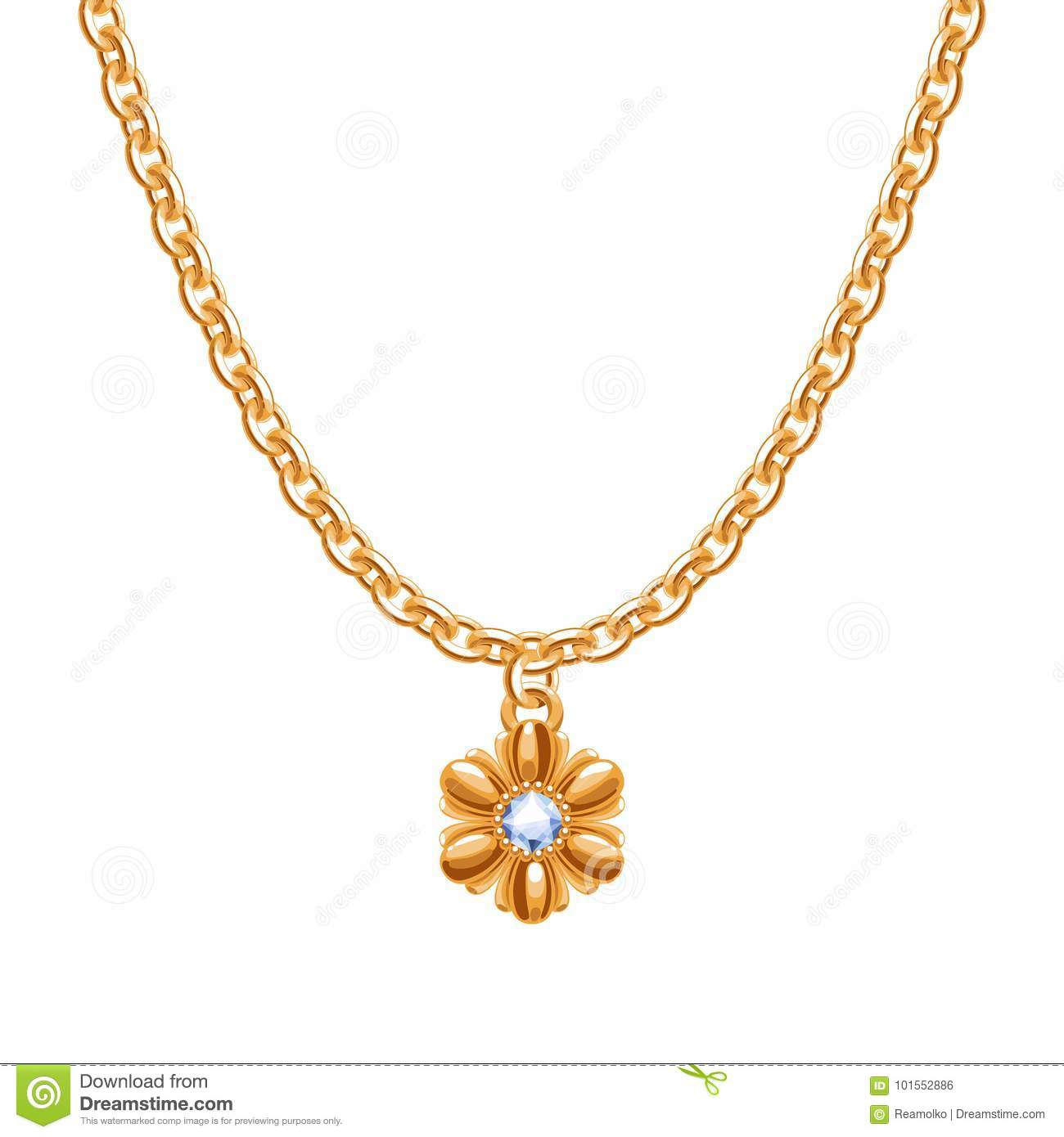Golden chain necklace with golden flower pendant.