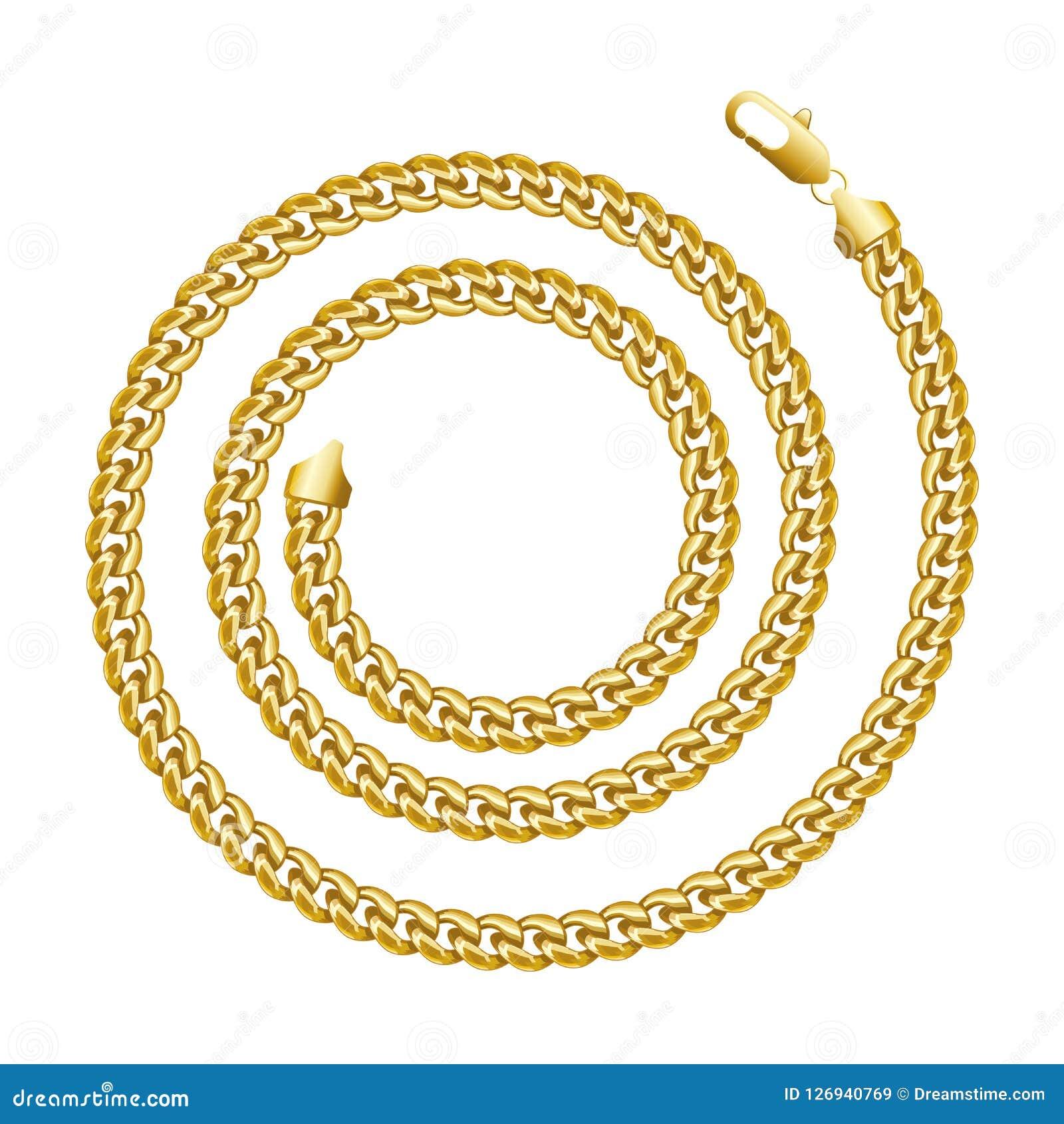 Golden chain round spiral border frame. Wreath circle shape.
