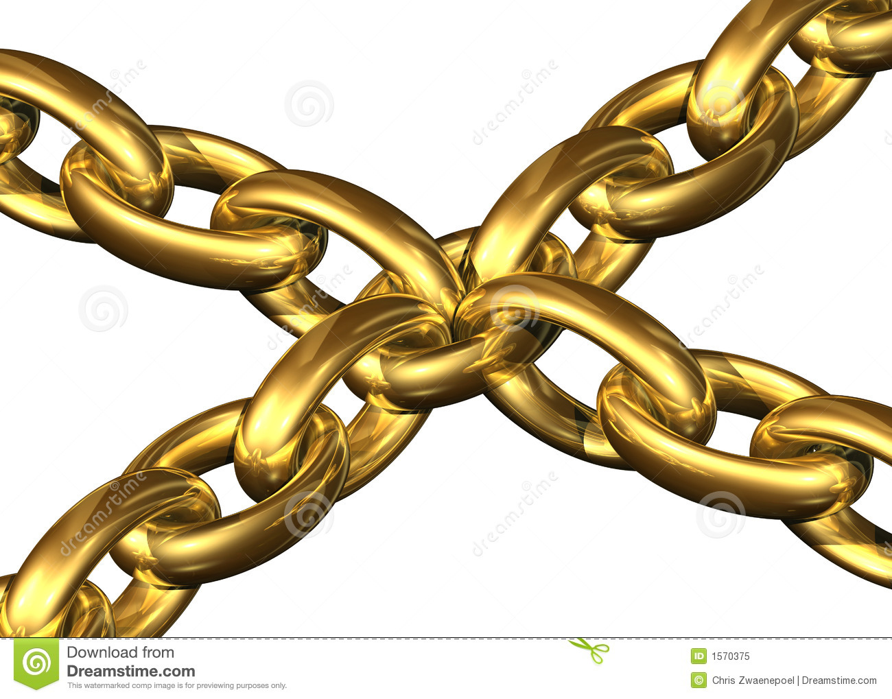 Golden Chains Kept Toghether By A Central Chain Element Royalty Free ...