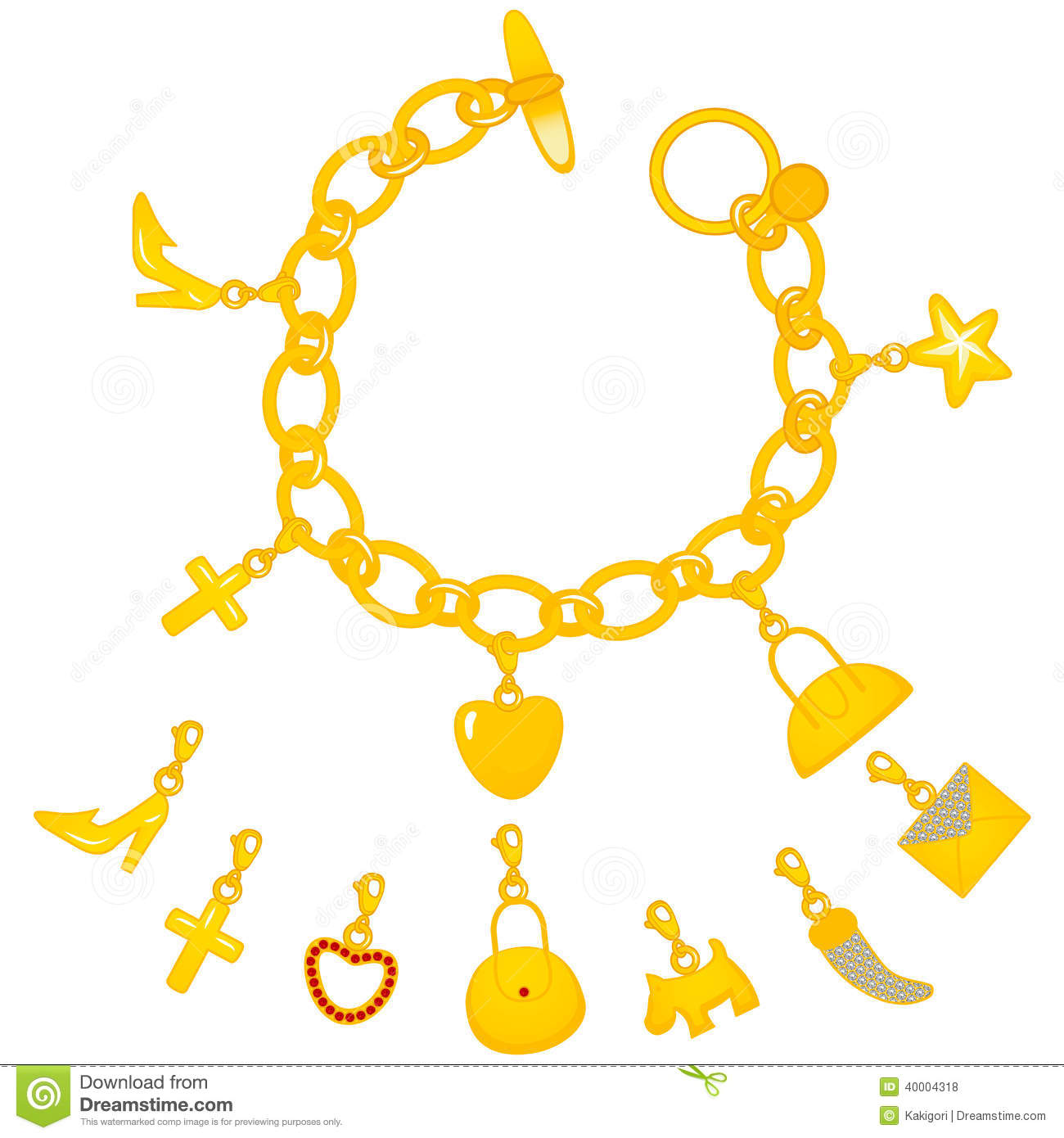 golden charms bracelet stock vector image 40004318 bow clipart free bow clipart free