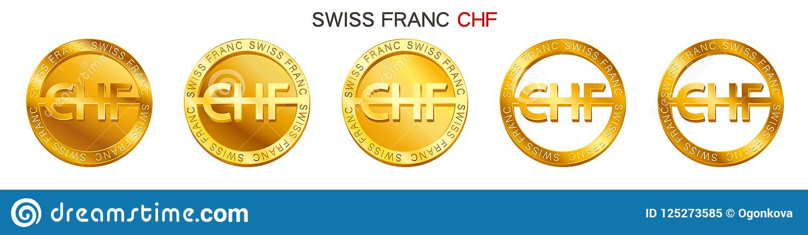 Vector Money Swiss Franc Sign Swiss Franc Coin Icon Isolated On