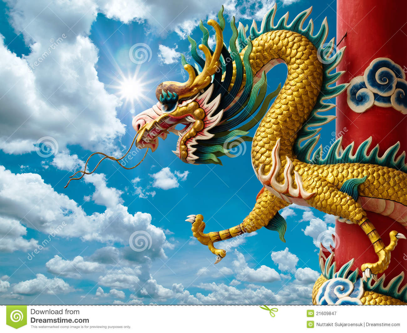 Golden Chinese Dragon and bright sky