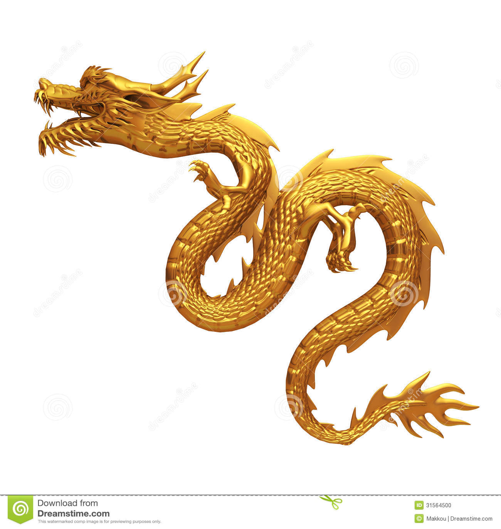 golden chinese dragon side stock illustration