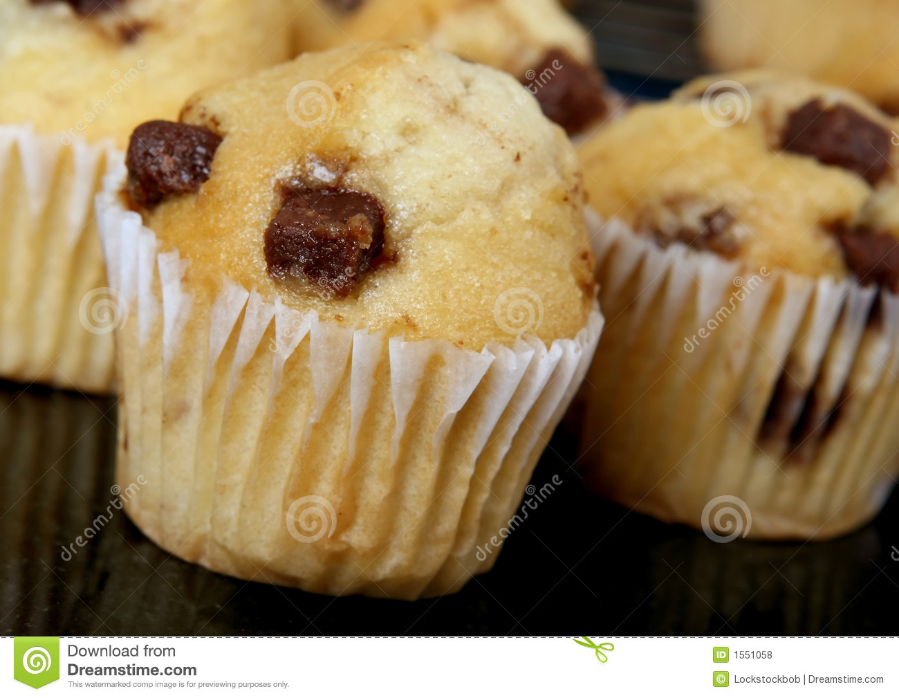 Golden Chocolate Chip Muffins Baked In The Kitchen Stock
