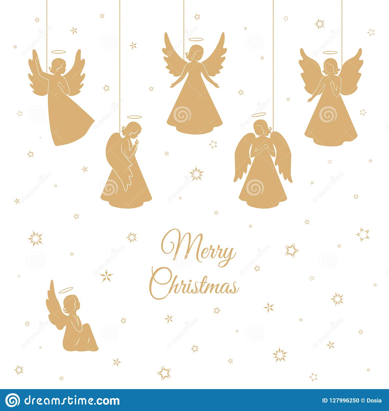 Golden Christmas Angels With Wings And Nimbus Stock Vector ...