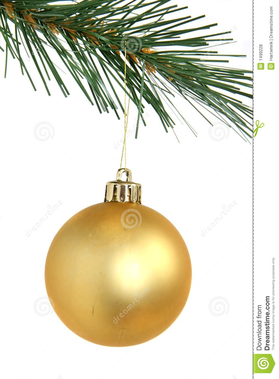 Christmas Tree Balls.Golden Christmas Ball Hanging From Christmas Tree Stock