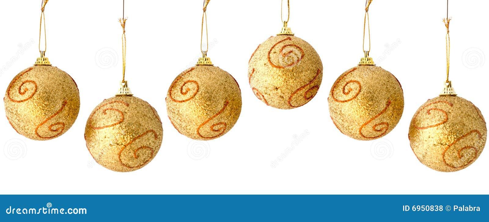 Golden christmas balls seamless repeatable border stock