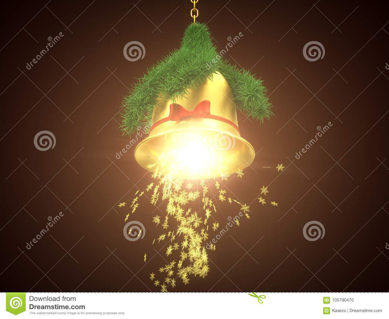 download golden christmas bell with light beam 3d illustration stock illustration illustration of