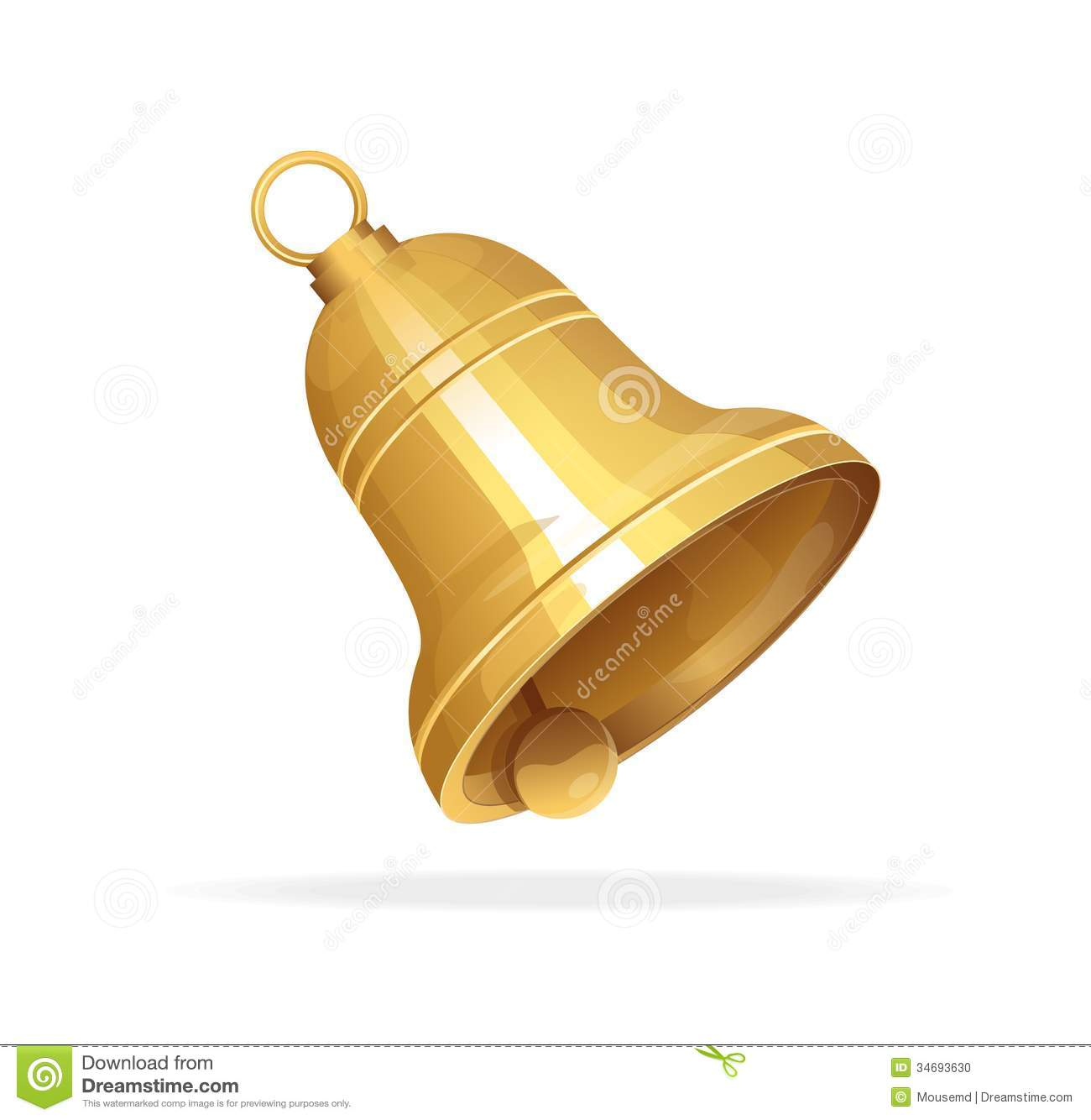 Golden Christmas Bell On White Background Stock Photo - Image ...