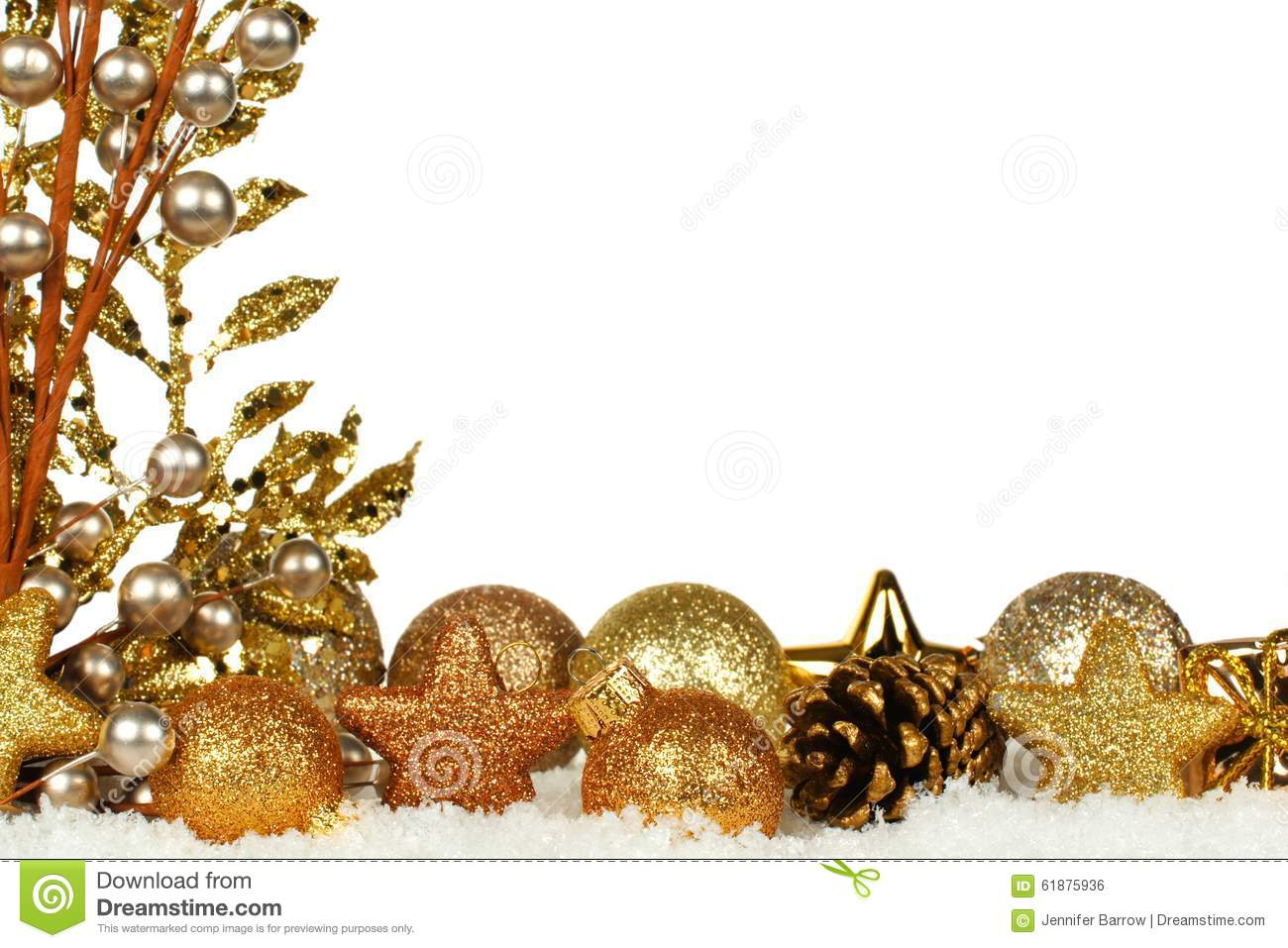 Golden Christmas Border With Ornaments And Branches In Fresh Snow ...