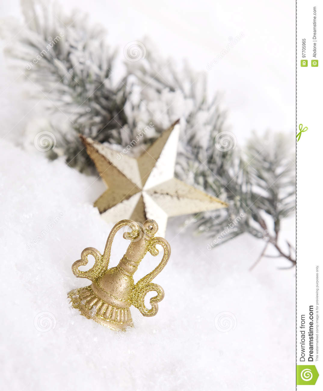 Golden Christmas decoration with snow