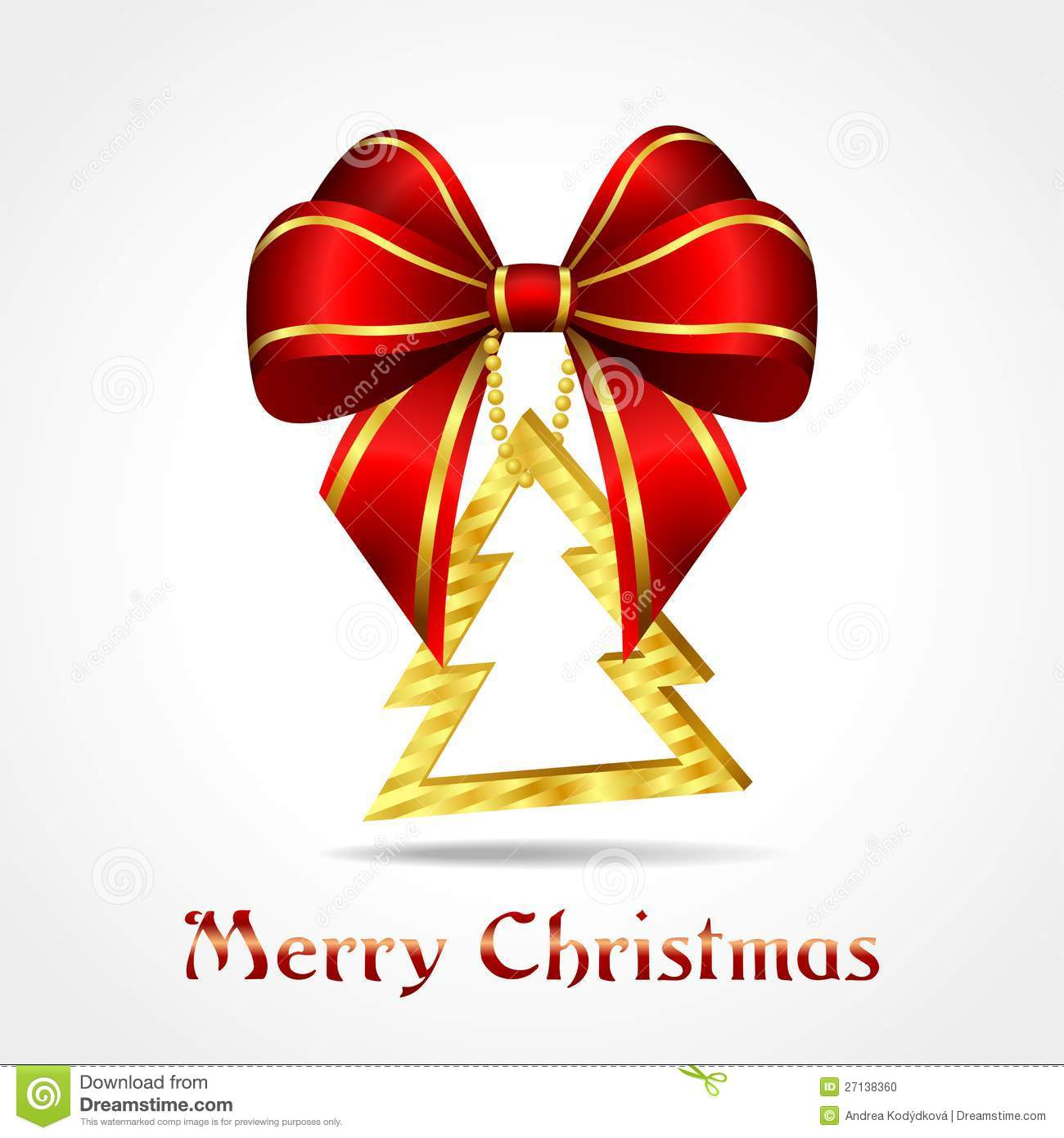 Christmas Tree With Red Ribbon: Golden Christmas Decoration