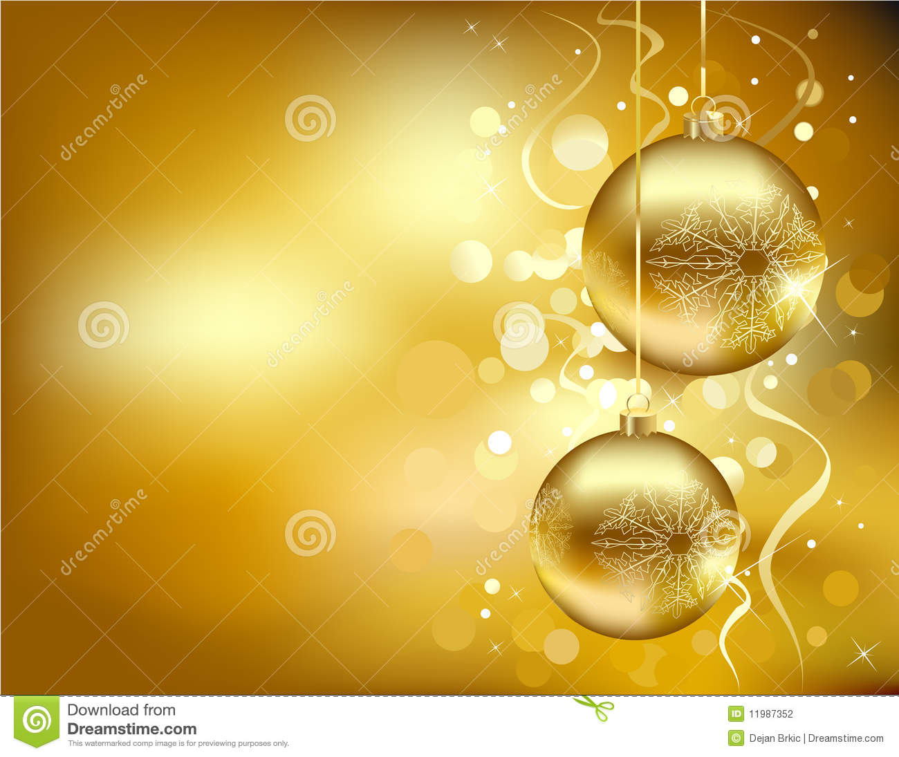 Golden Christmas Decorations Stock Vector Illustration Of Happy Card 11987352