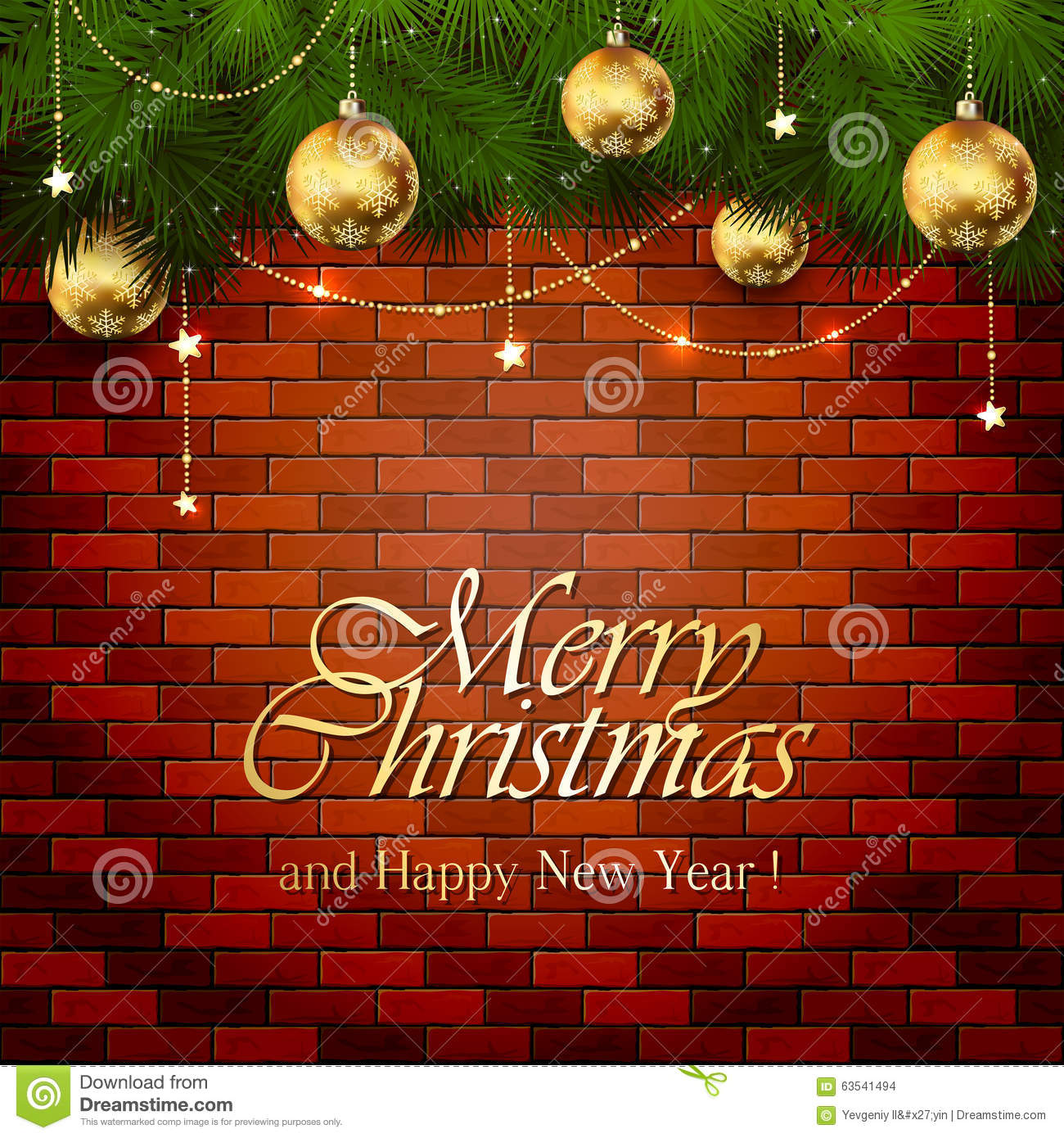 Golden Christmas Decorations On A Brick Wall Stock Vector