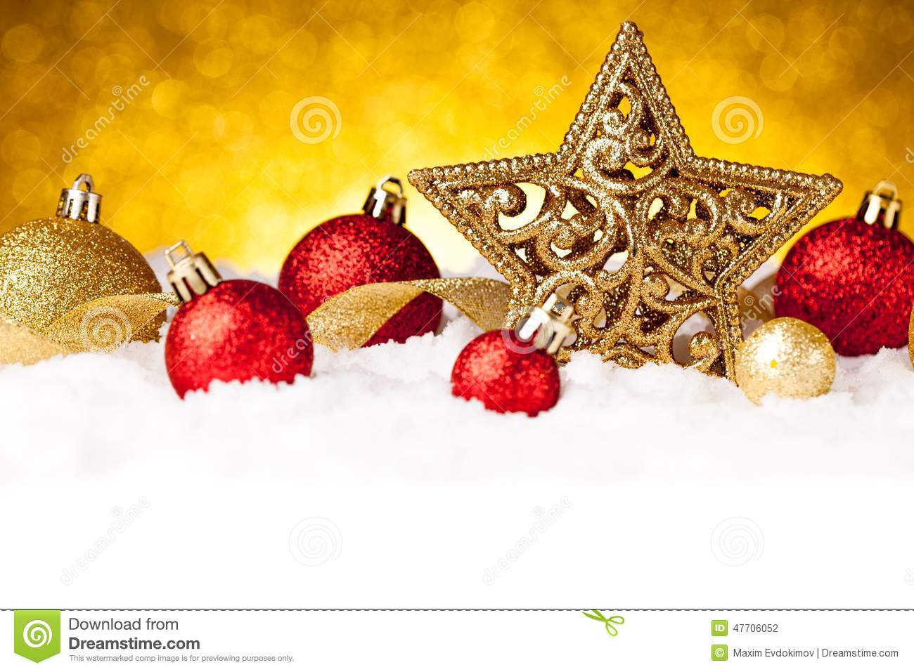Golden christmas fir star decoration with gold and red
