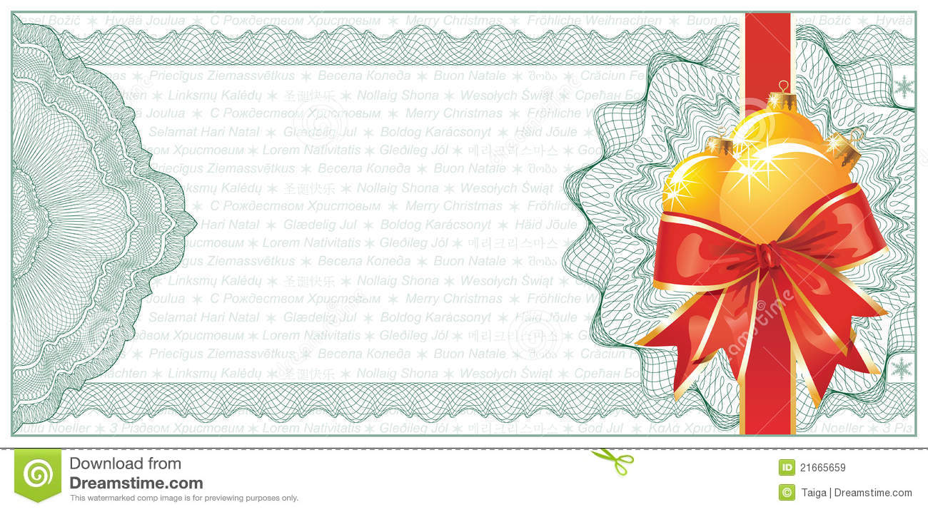 Golden Christmas Gift Certificate Or Discount Stock Vector