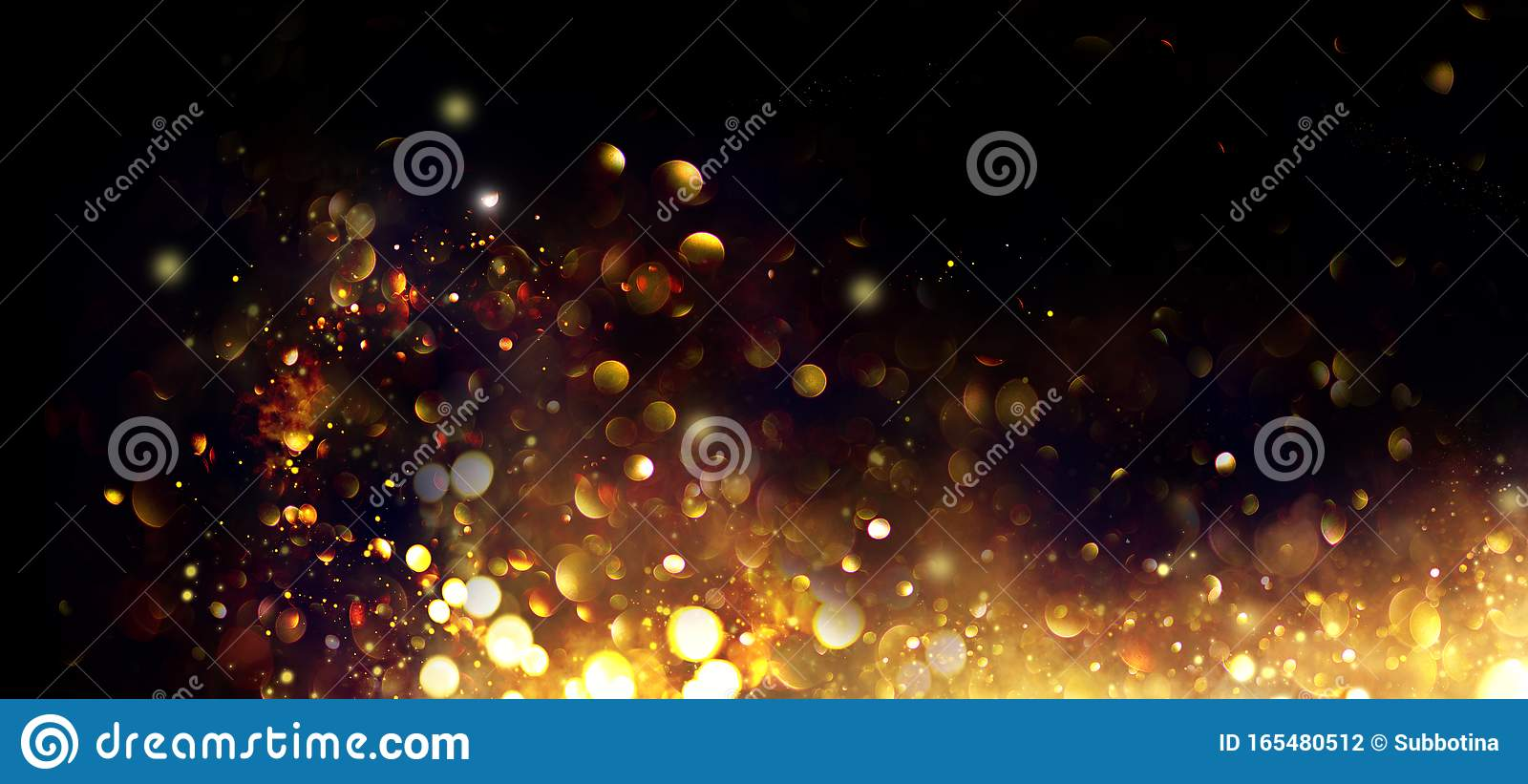 Golden Christmas and New Year glittering stars swirl on black bokeh background, backdrop with sparkling golden stars