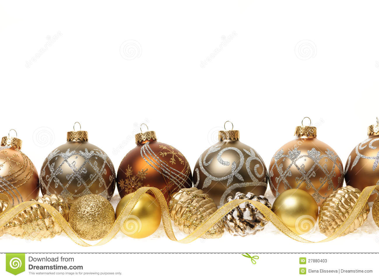 Golden christmas decorations with gold balls and ornaments on white