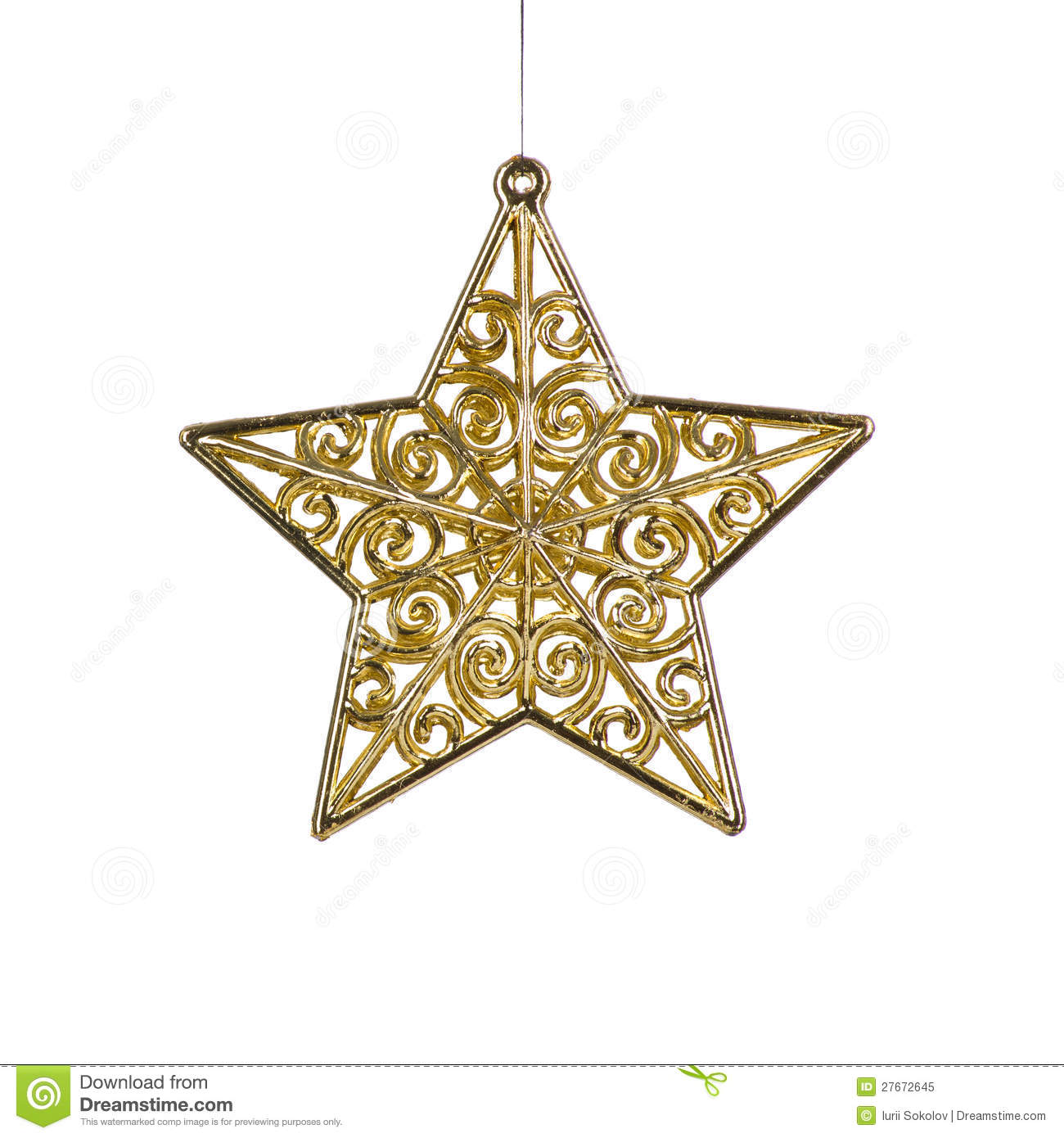Golden Christmas Star Decoration Royalty Free Stock Photo - Image ...